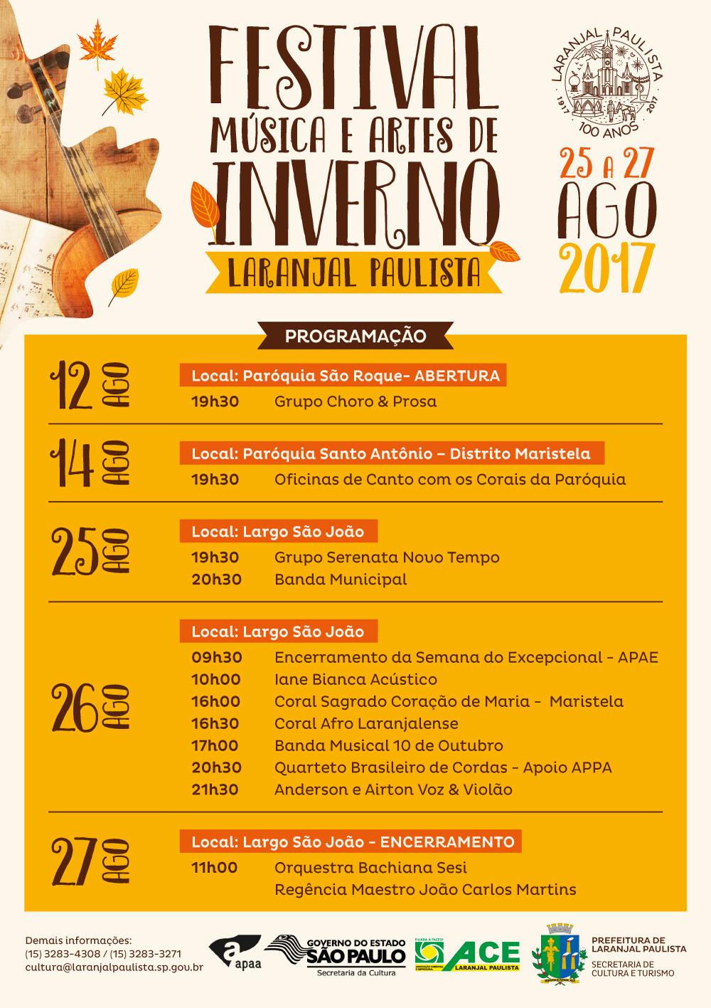 Confira a programação do Festival de Inverno Música & Artes de Laranjal Paulista.