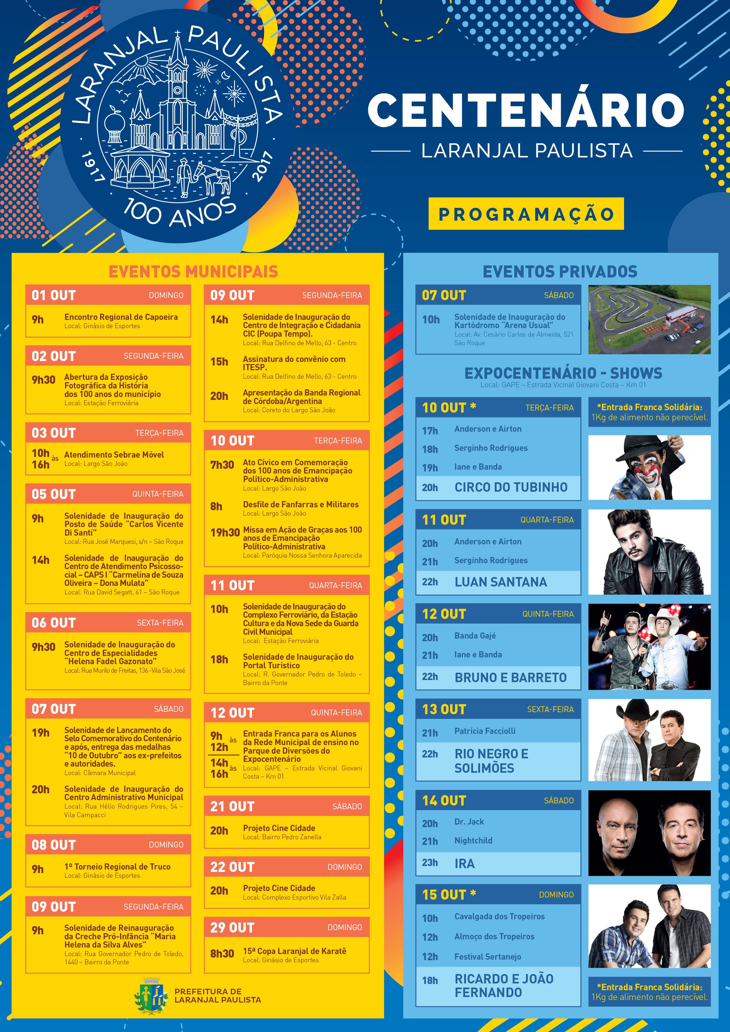 Programação de Shows e Eventos em comemoração ao Centenário de Laranjal Paulista