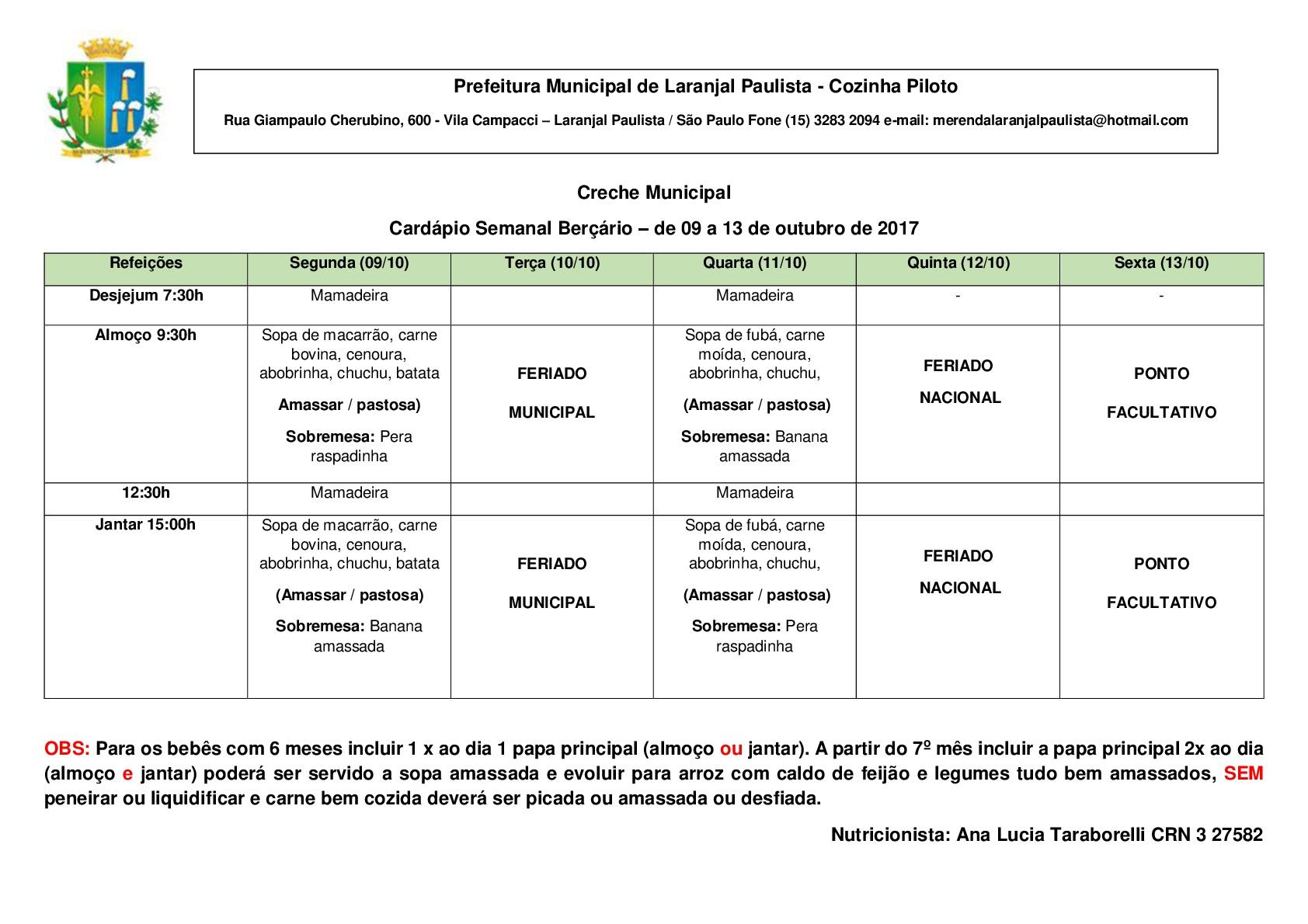 CARDÁPIOS DA CRECHE E MATERNAL PARA OUTUBRO