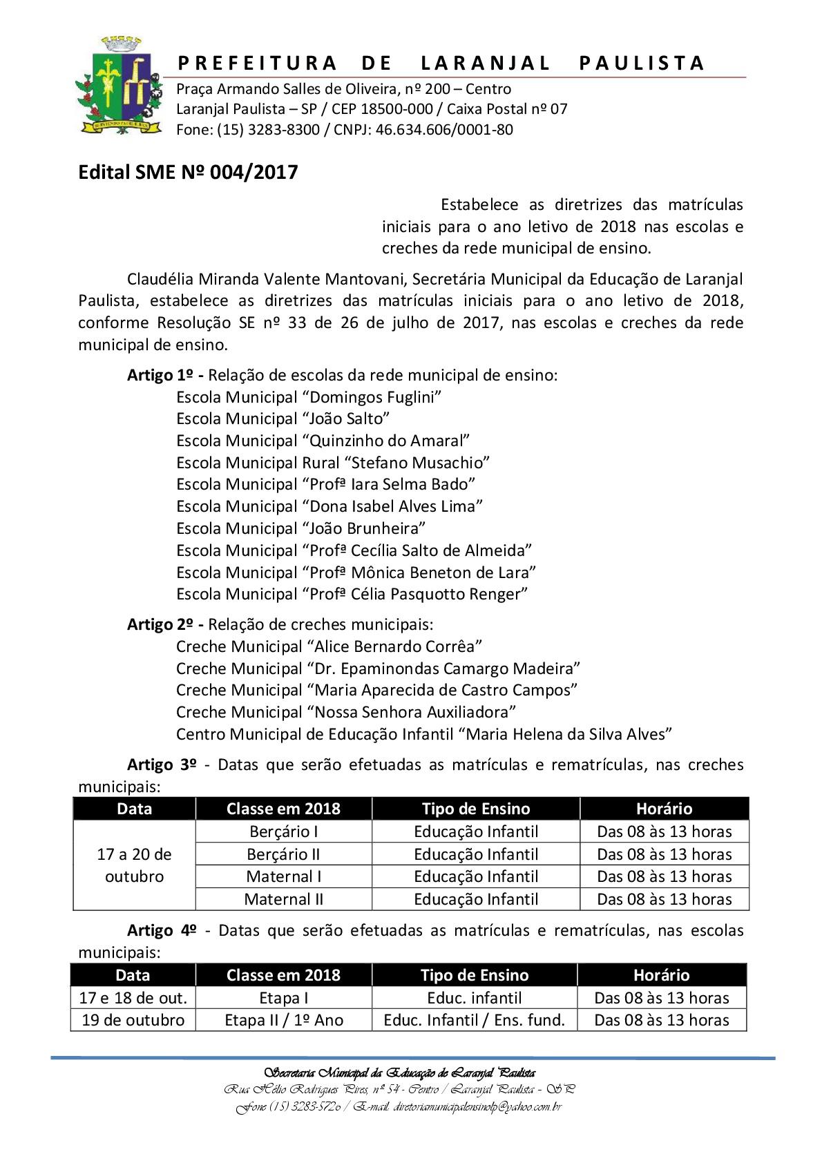 Edital SME Nº 004/2017 - Matrículas 2018