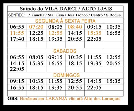 Horário de ônibus