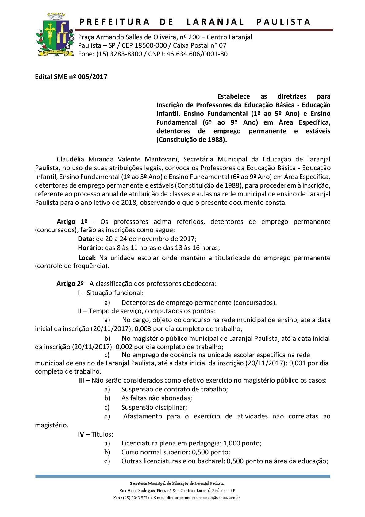 EDITAIS de inscrição - Professores efetivos para 2018
