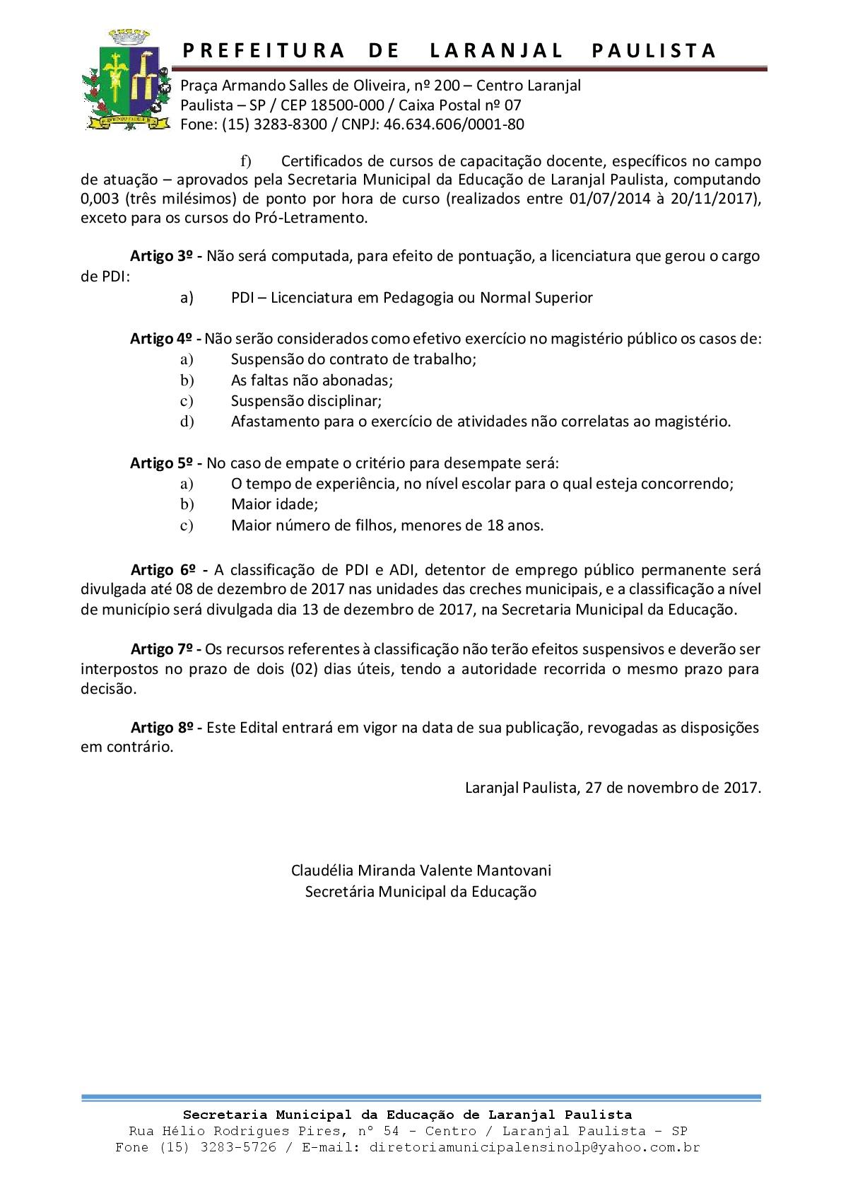 Editais SME nº 005-2017 e 006-2017 - Atualizados
