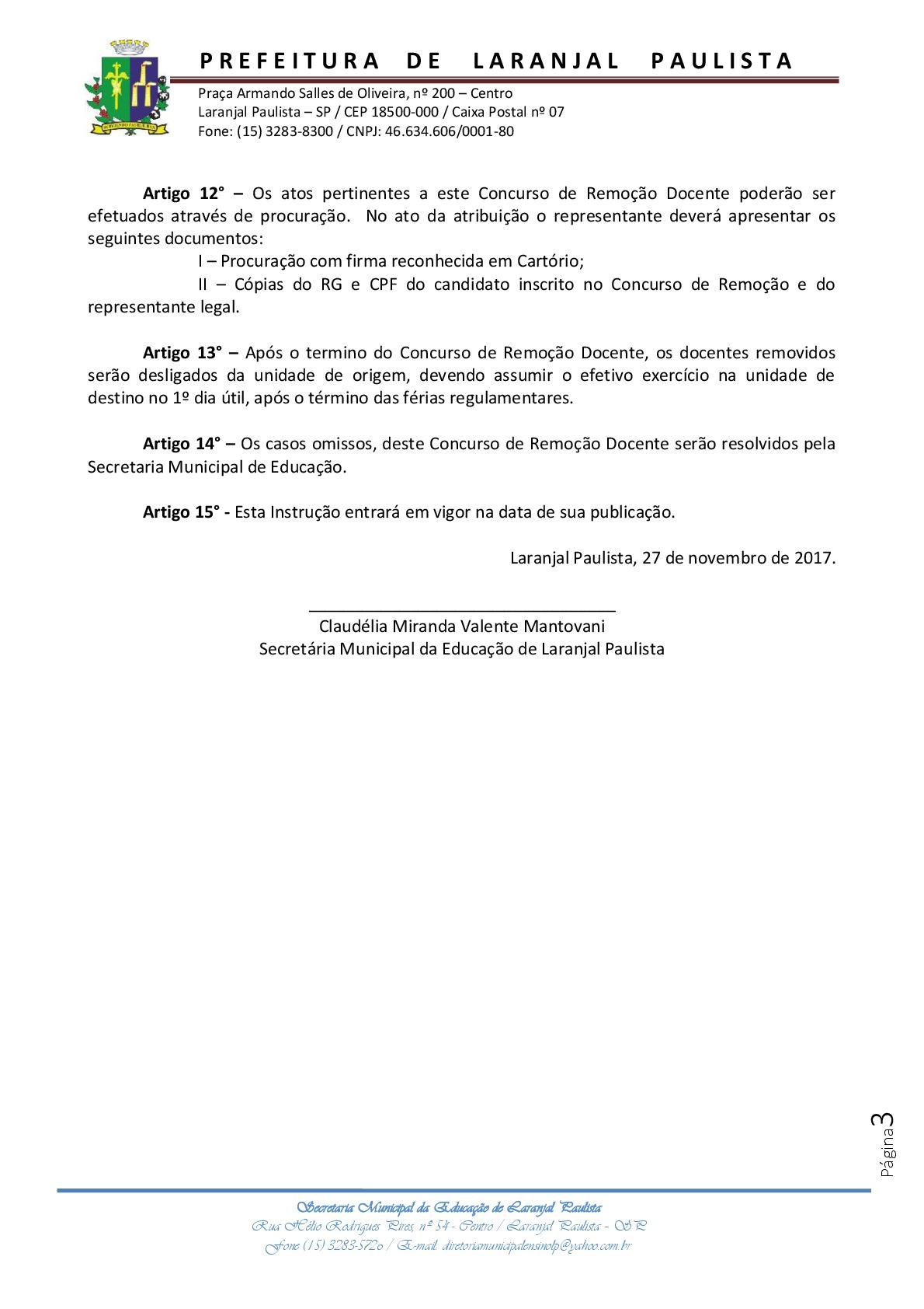 Instrução normativa SME nº 005/2017 - Concurso de Remoção