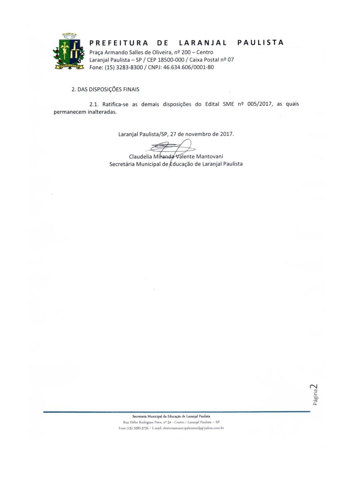 Retificação dos Editais SME nº 005/2017 e 006/2017