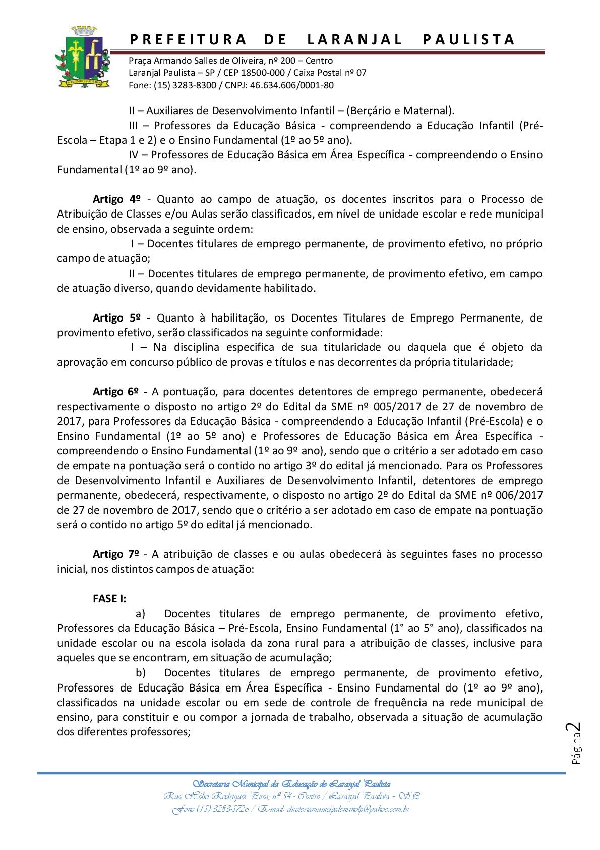 Instrução normativa SME nº 006/2017 - Diretrizes para atribuição de aulas-classes