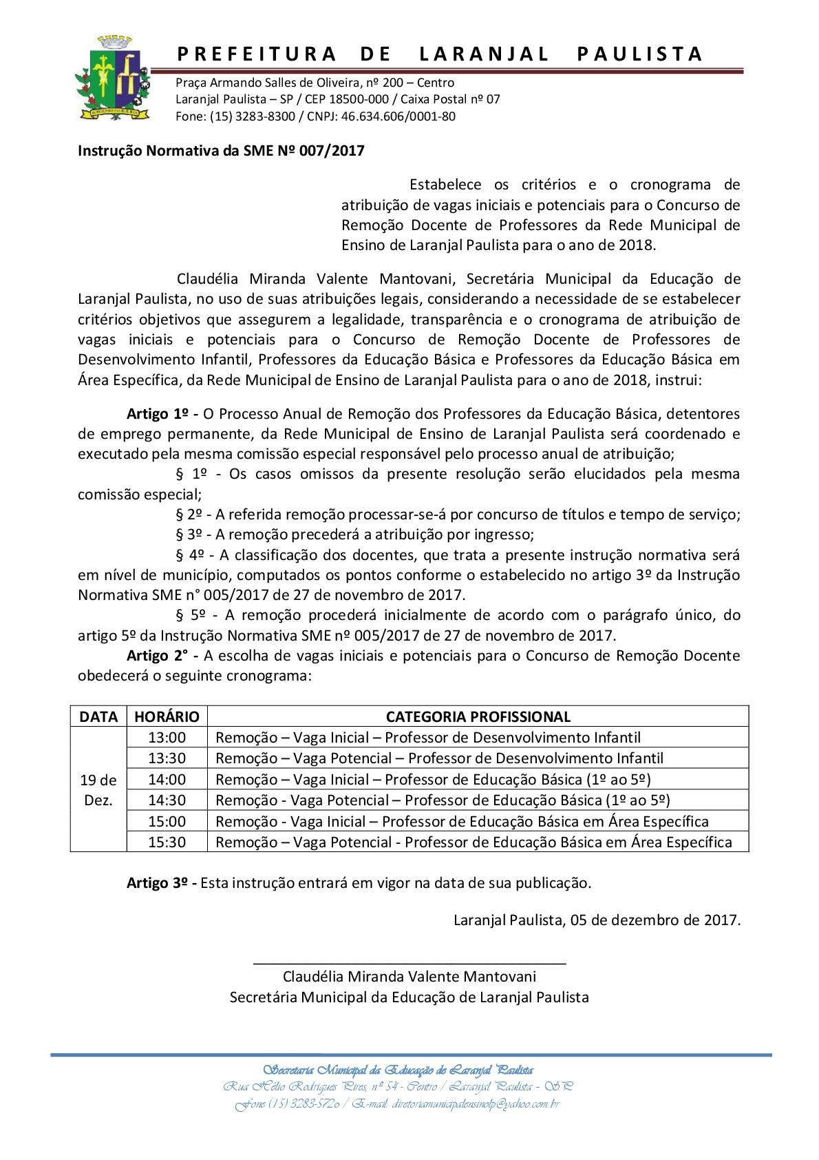 Instrução normativa SME nº 007/2017 - Cronograma de remoção