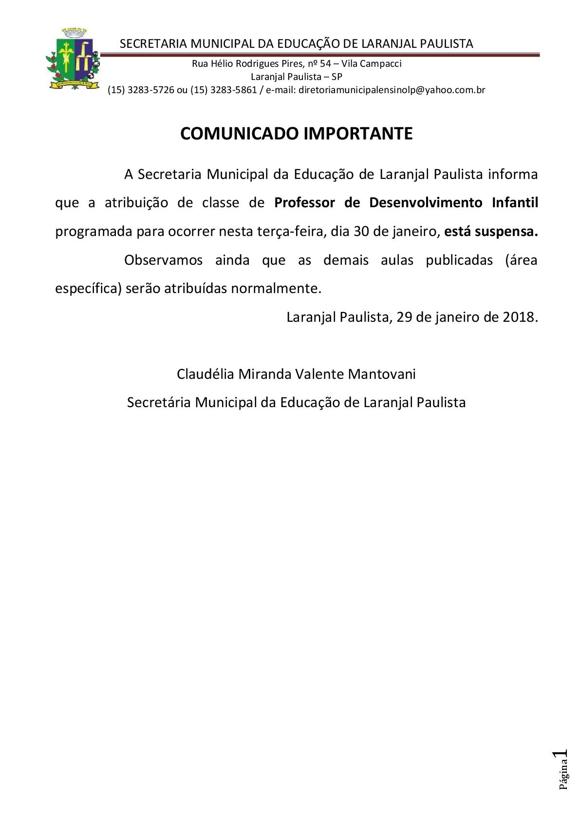 Comunicado Importante - Atribuição de aulas parcialmente cancelada... 29/01/2018