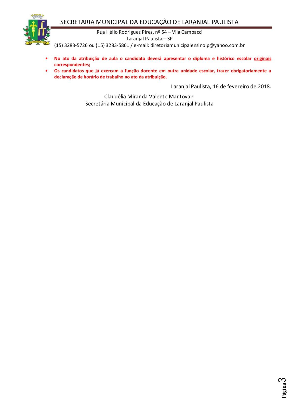 Atribuição de classes e ou aulas excedentes nº 003/2018