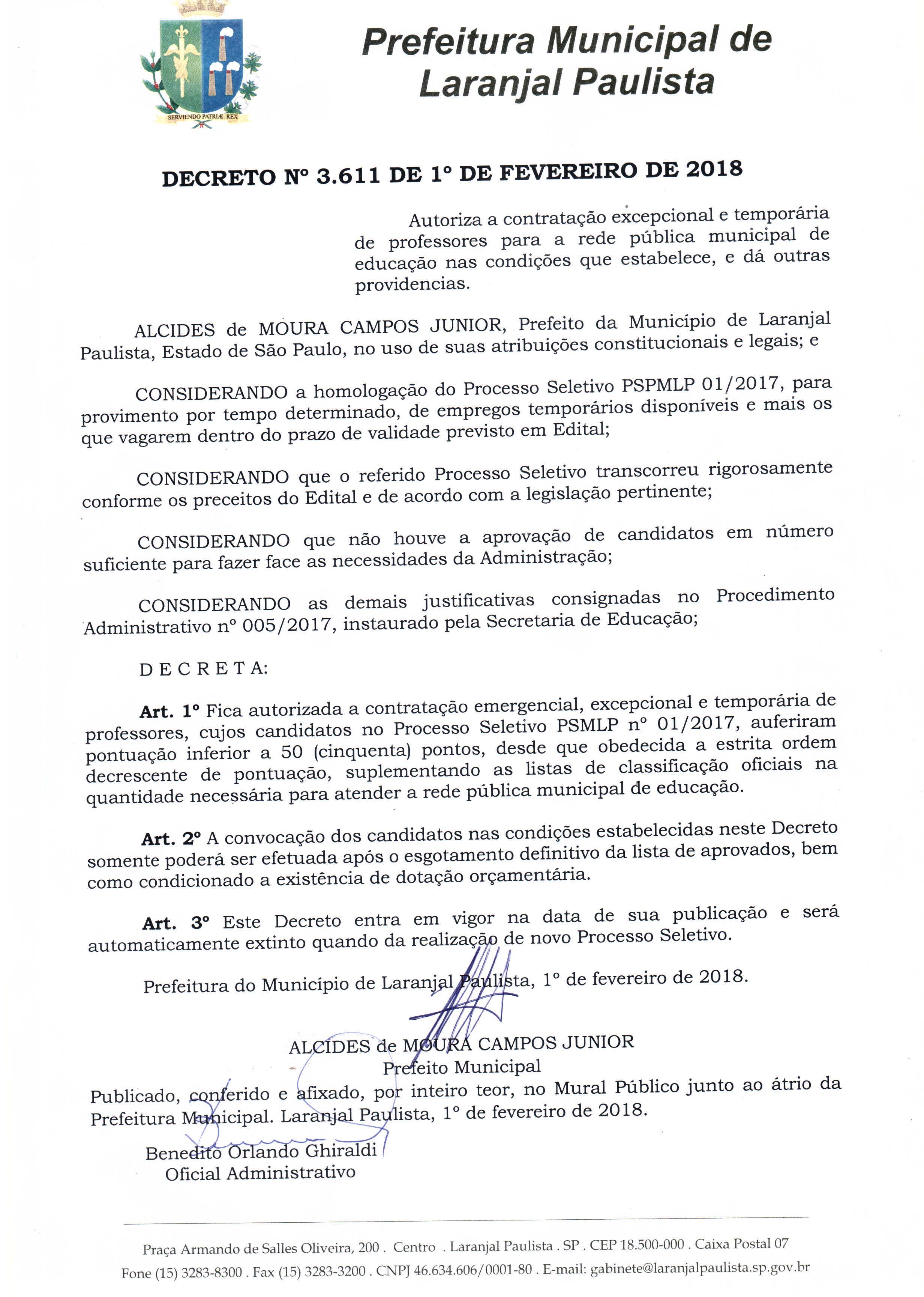 Decreto nº 3611/2018 - Autorização de contratação excepcional e temporária de professores