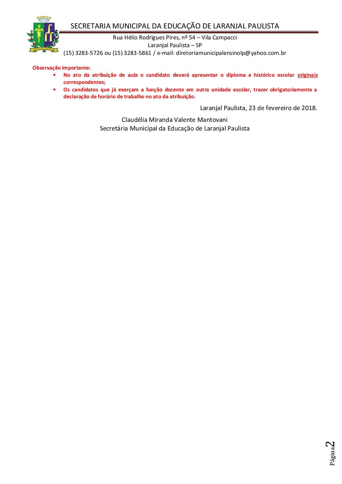Atribuição de classes e ou aulas excedentes nº 004/2018