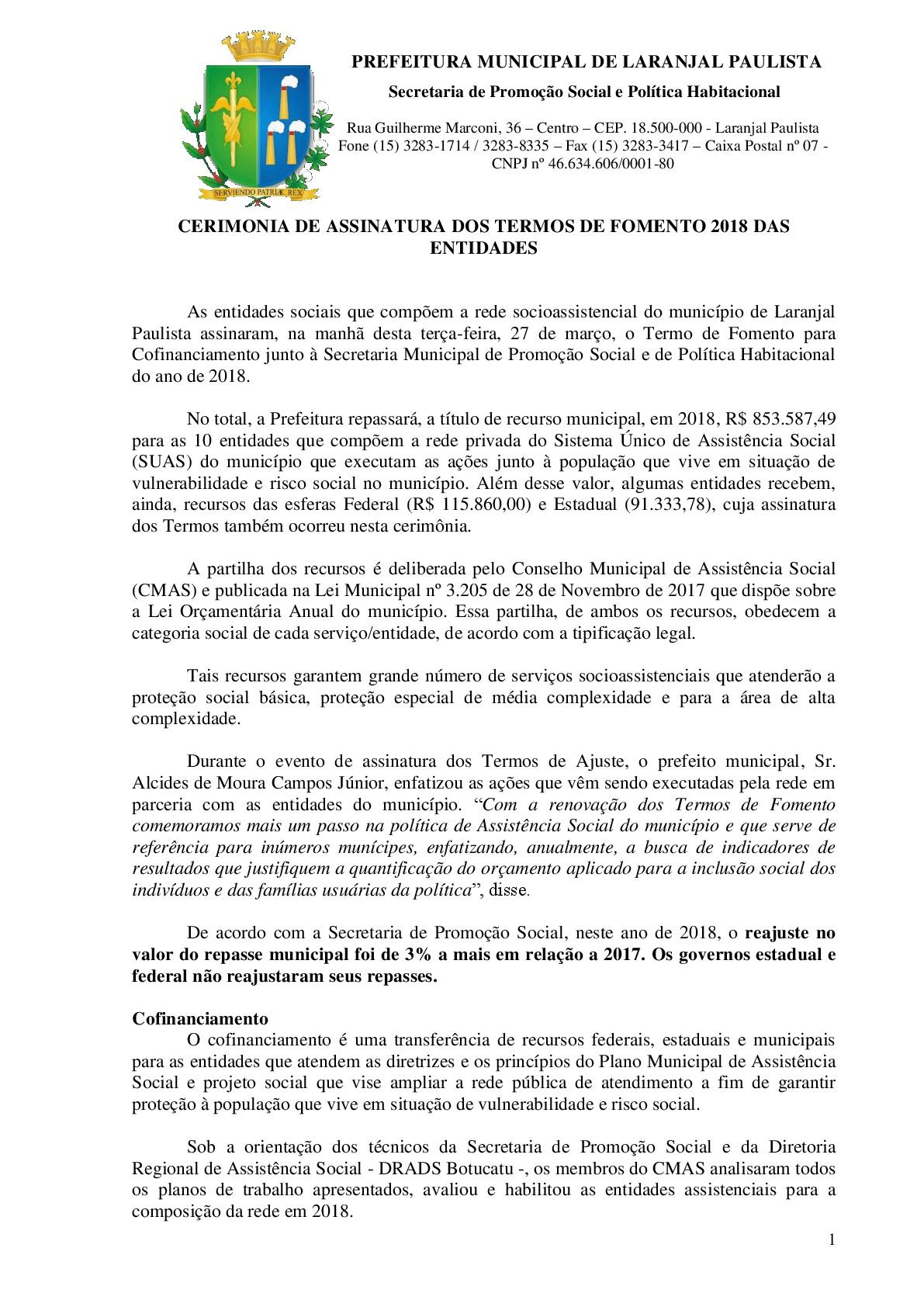 CERIMÔNIA DE ASSINATURA DOS TERMOS DE FOMENTO 2018 DAS ENTIDADES