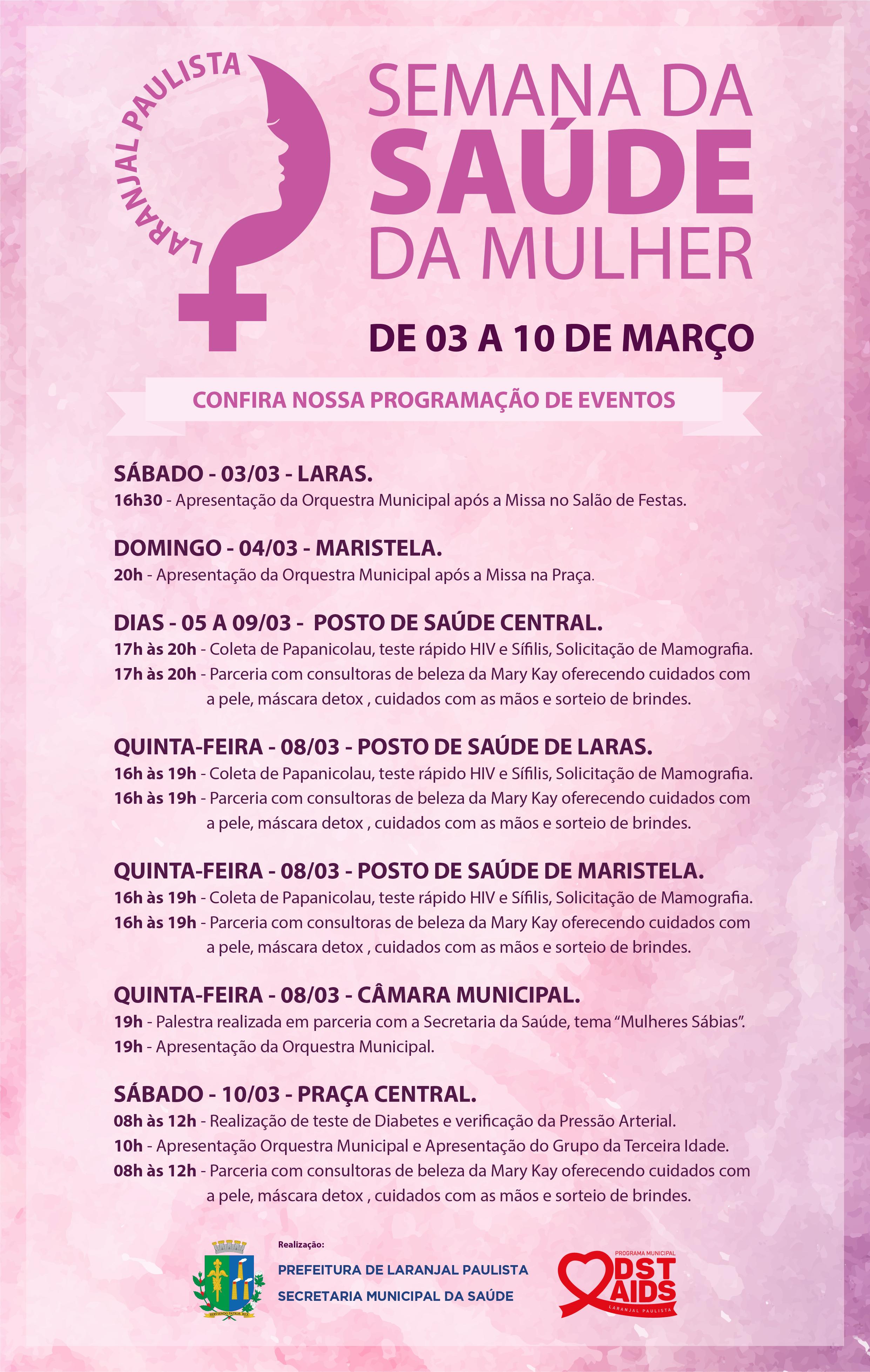 Acontece em Laranjal Paulista a Semana da Saúde da Mulher!