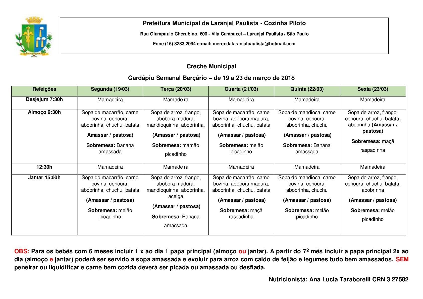 Cardápios para o mês de Março das Escolas e Creches de Laranjal Paulista.