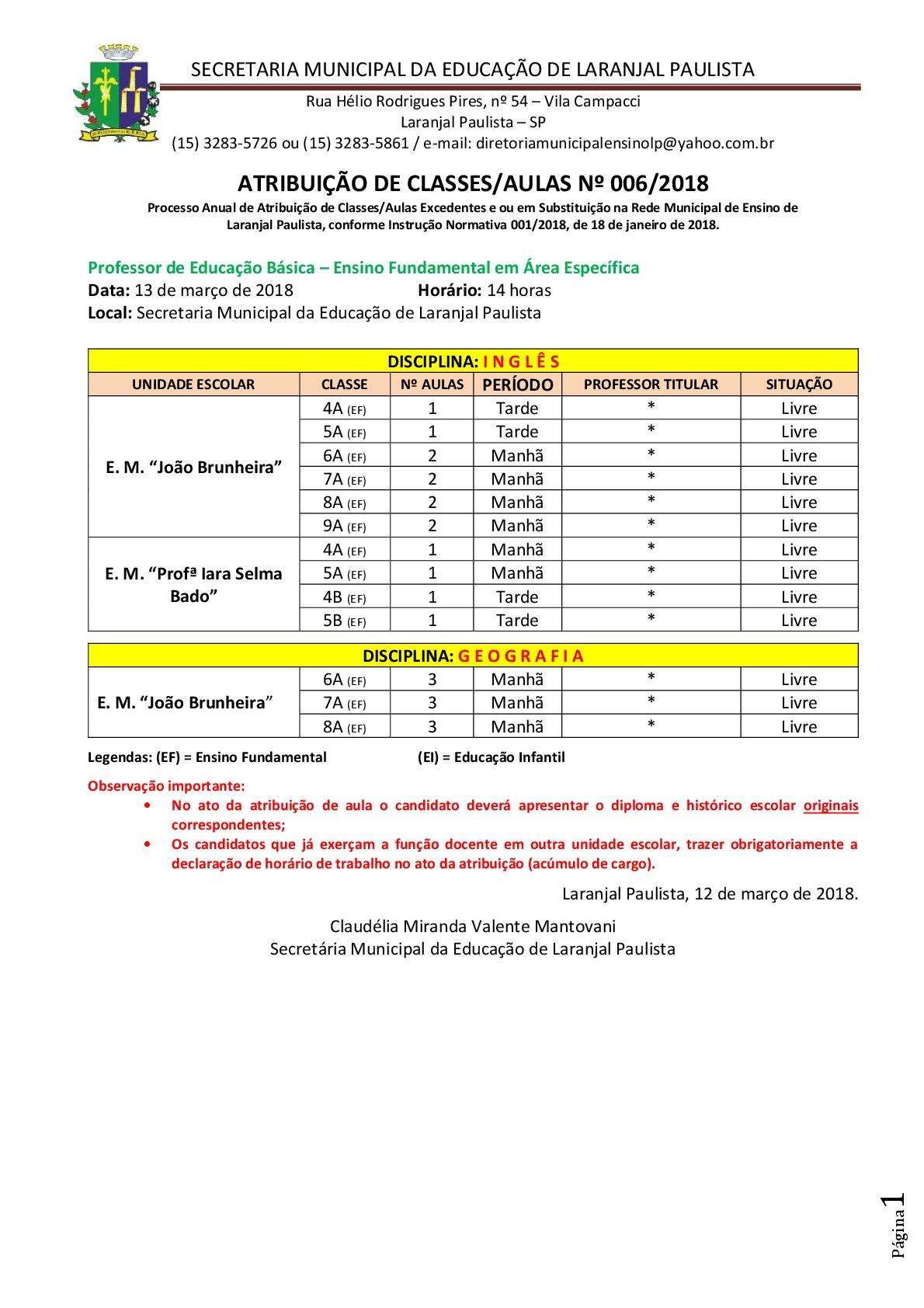 Atribuição de classes e ou aulas excedentes nº 006-2018