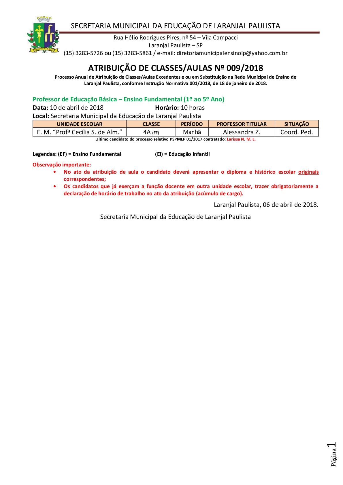 Atribuição de classes e ou aulas excedentes nº 009/2018