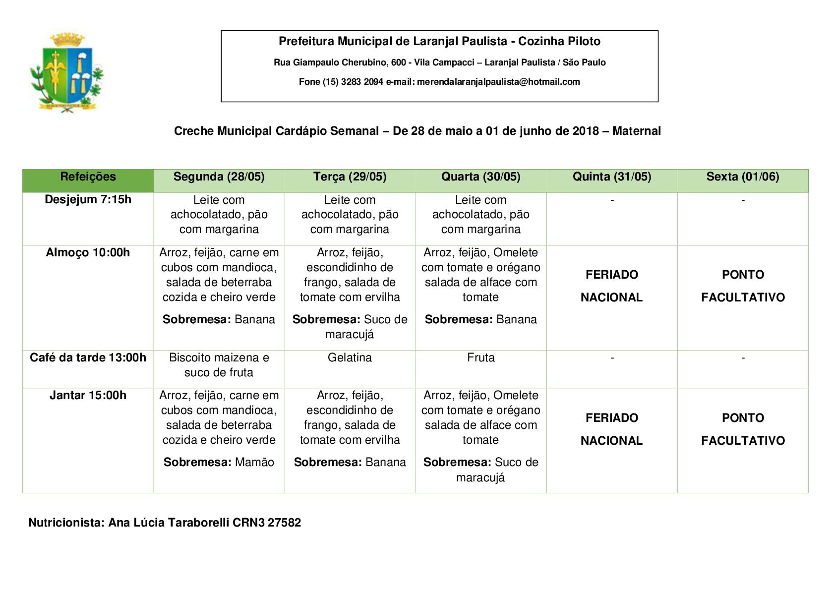 Cardápios da merenda para o mês de Maio das Escolas e Creches de Laranjal Paulista.