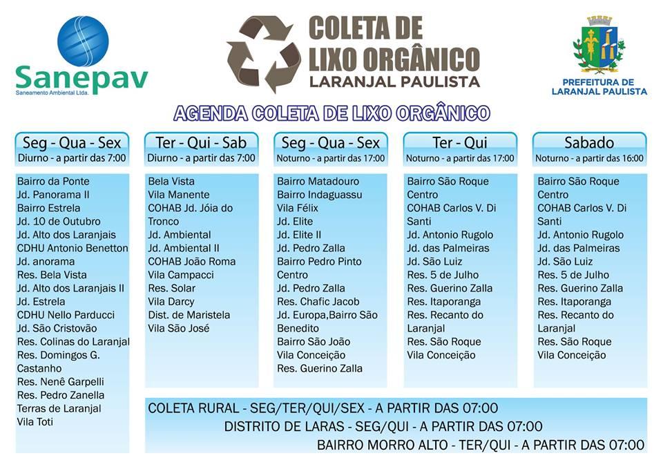 Alterações no Cronograma da Coleta Seletiva em Laranjal Paulista à partir de 14 de Maio