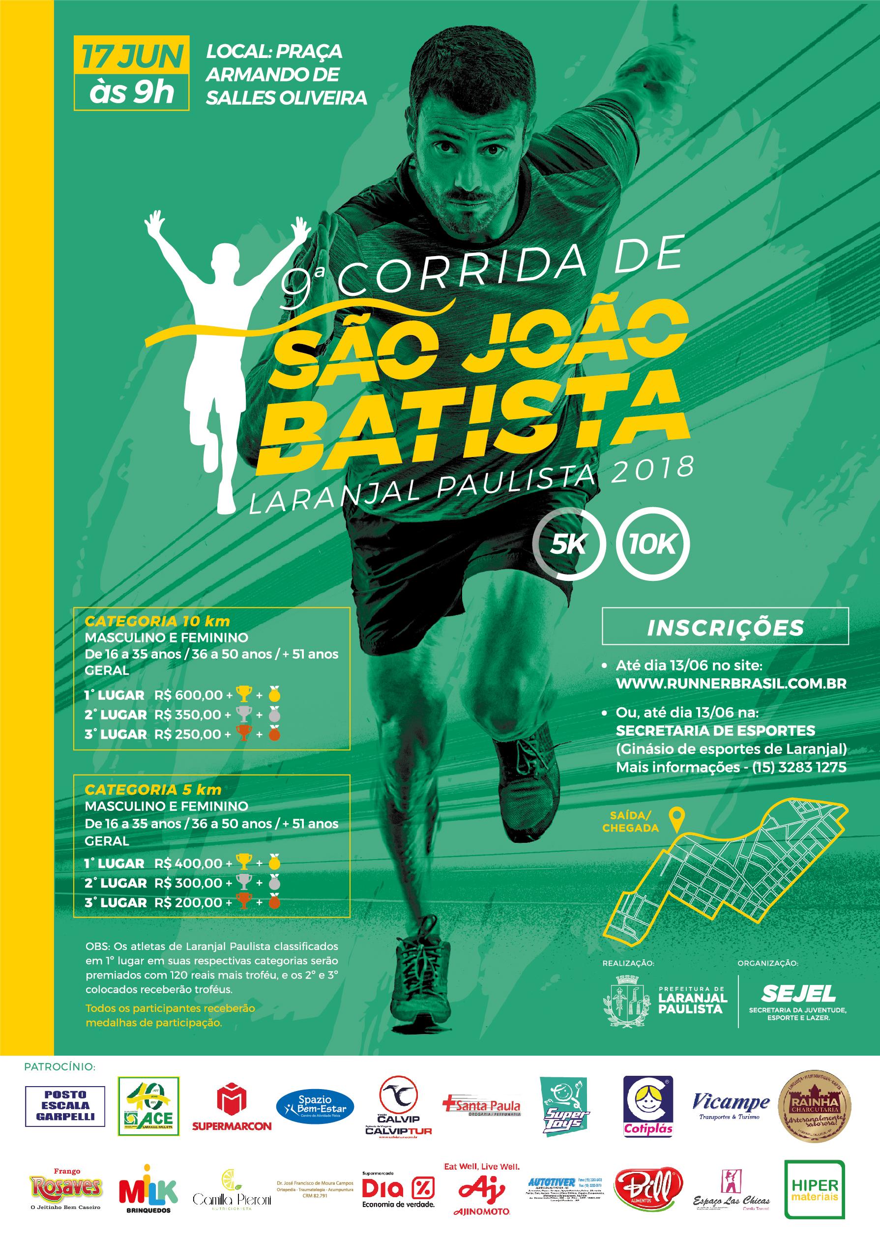 Acontece em Laranjal Paulista a 9ª Corrida de São João Batista - Dia 17 de Junho às 9h.