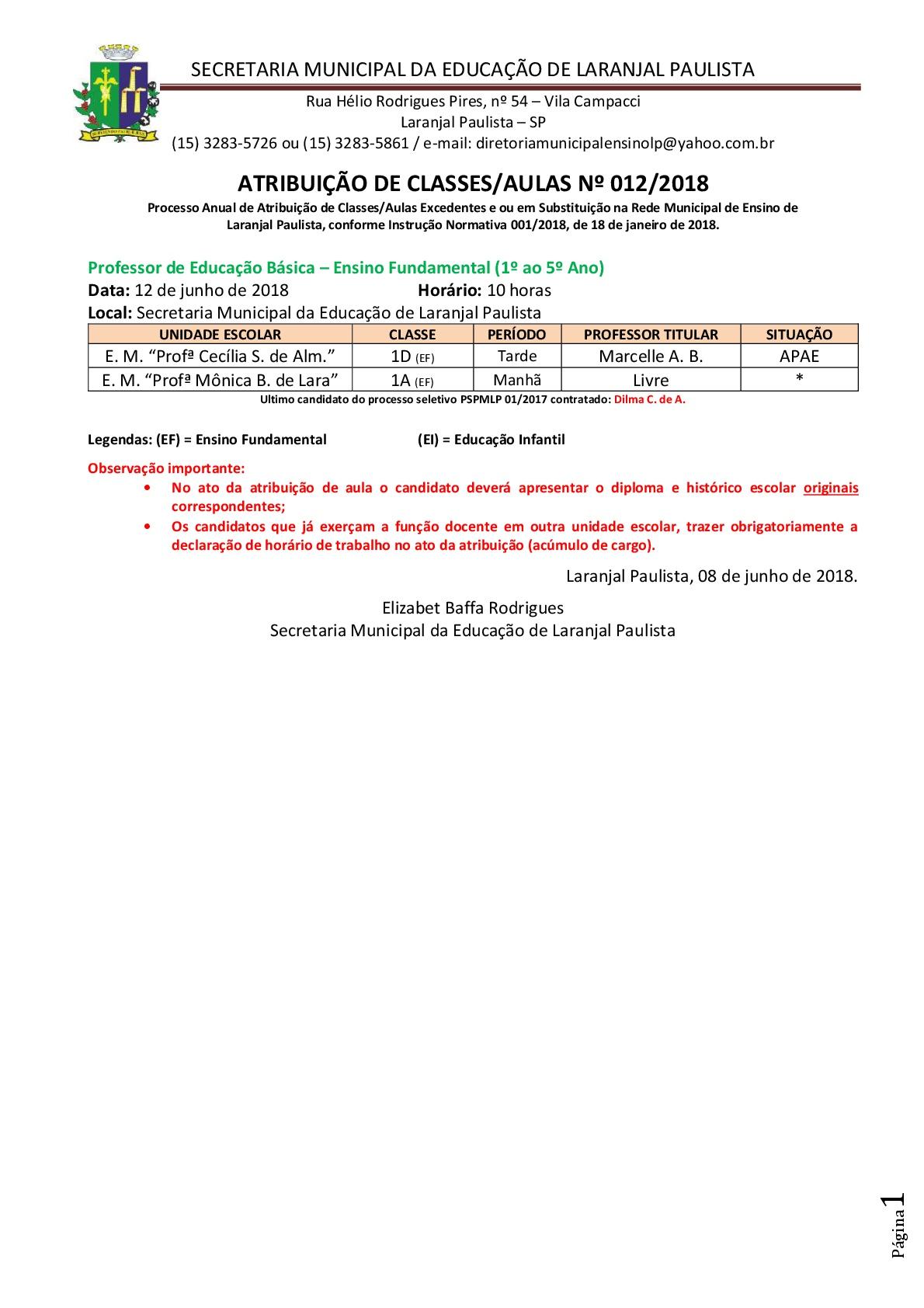 Atribuição de classes e ou aulas excedentes nº 012-2018