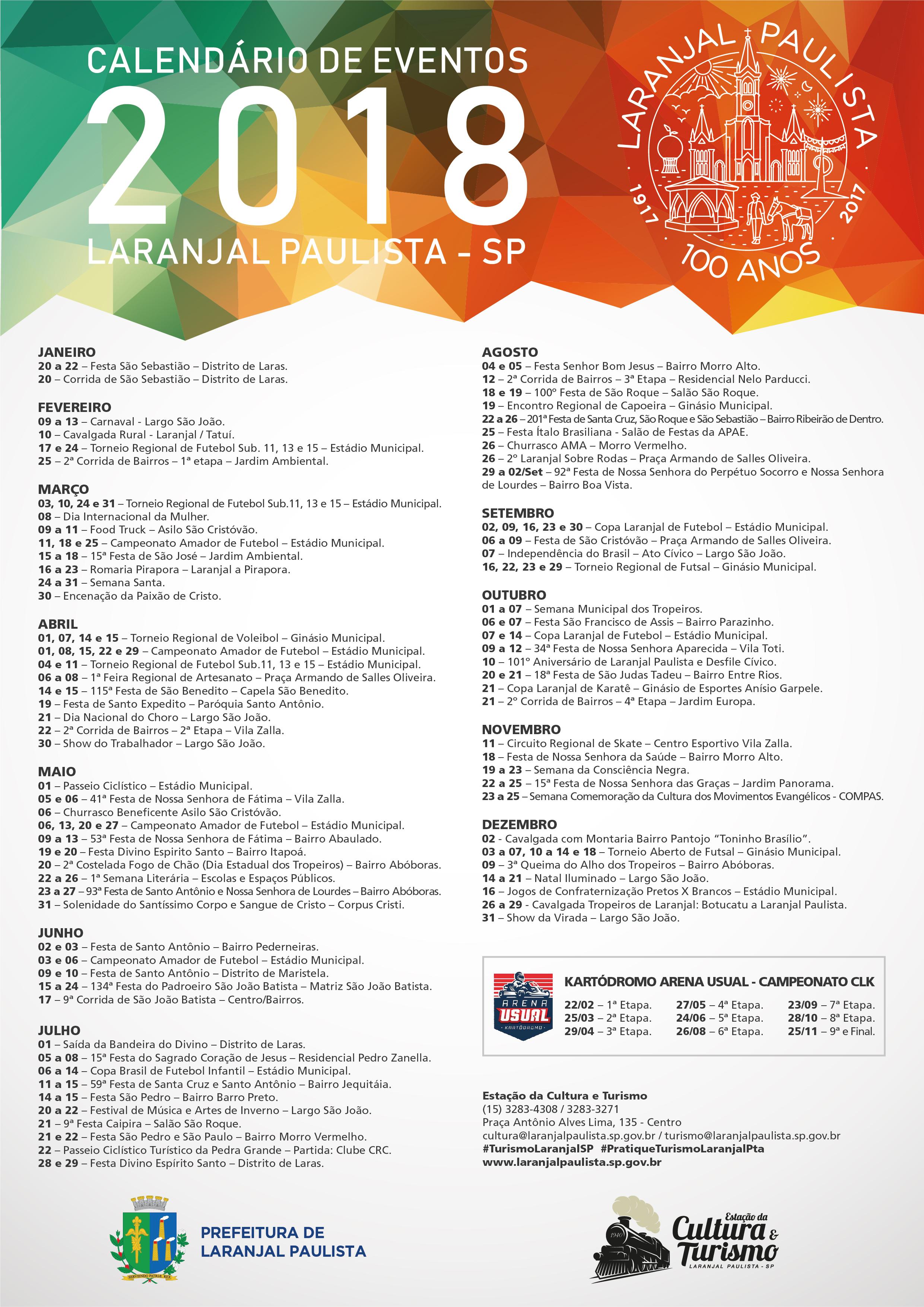 Calendário de Eventos de Laranjal Paulista para 2018