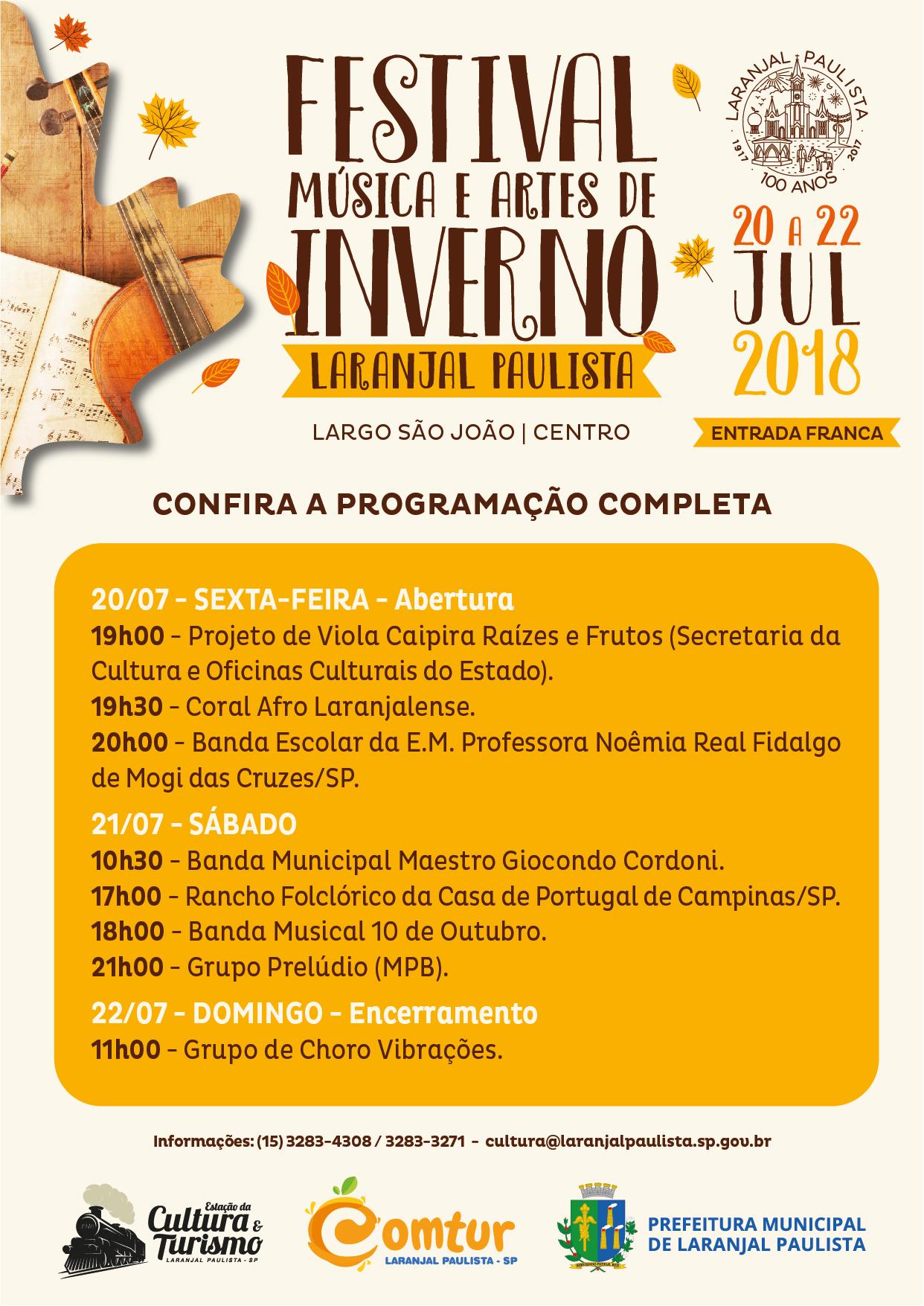 Festival Música e Artes de Inverno 2018 de Laranjal Paulista