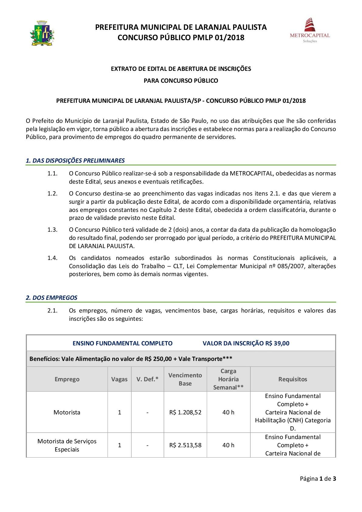 Concurso Público PMLP 01/2018 - Prefeitura Municipal de Laranjal Paulista