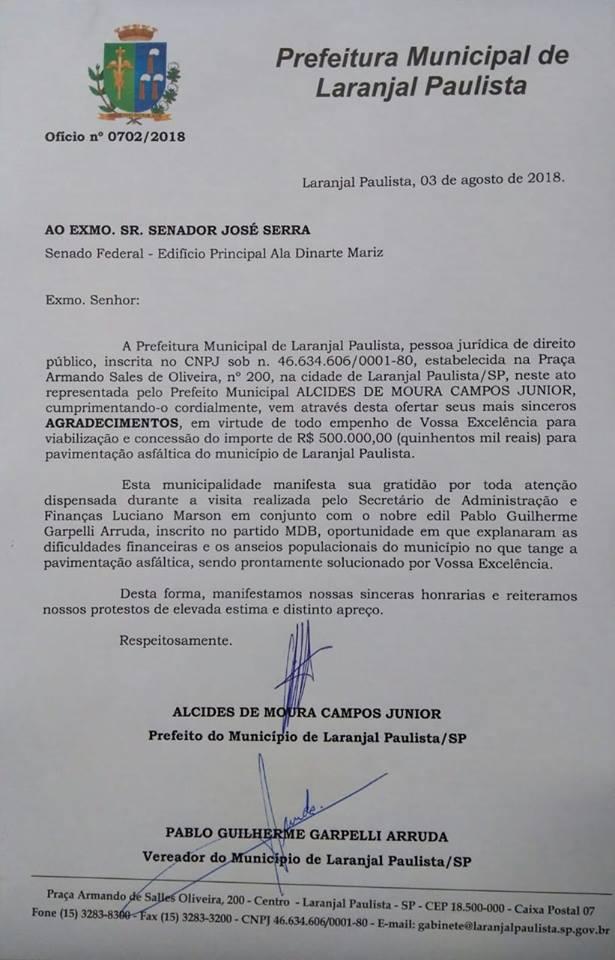 refeitura Municipal manifesta seu agradecimento ao Senador José Serra e ao Laranjalense Felipe Salto
