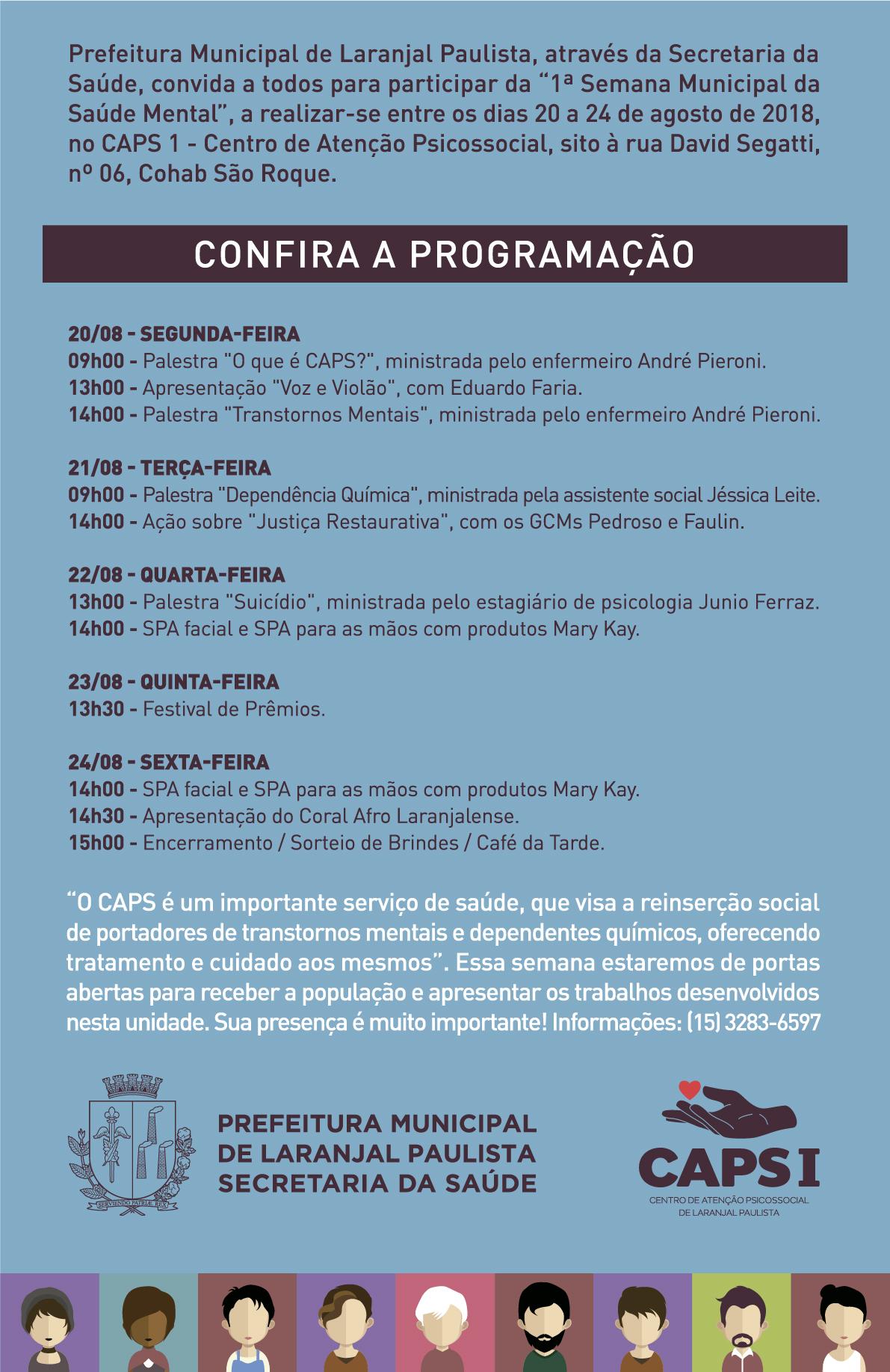"""Confira a programação da """"1ª Semana Municipal da Saúde Mental"""" e participe!"""