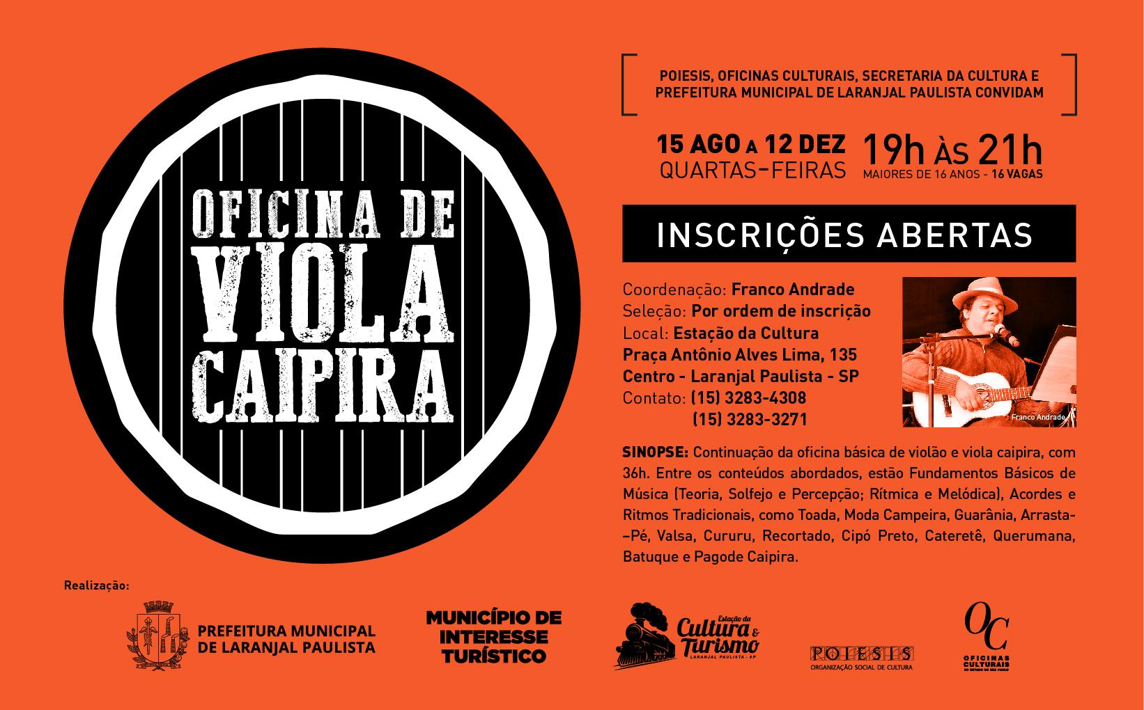 Inscrições Abertas - Oficina de Vilão e Viola Caipira: Raízes e Frutos II