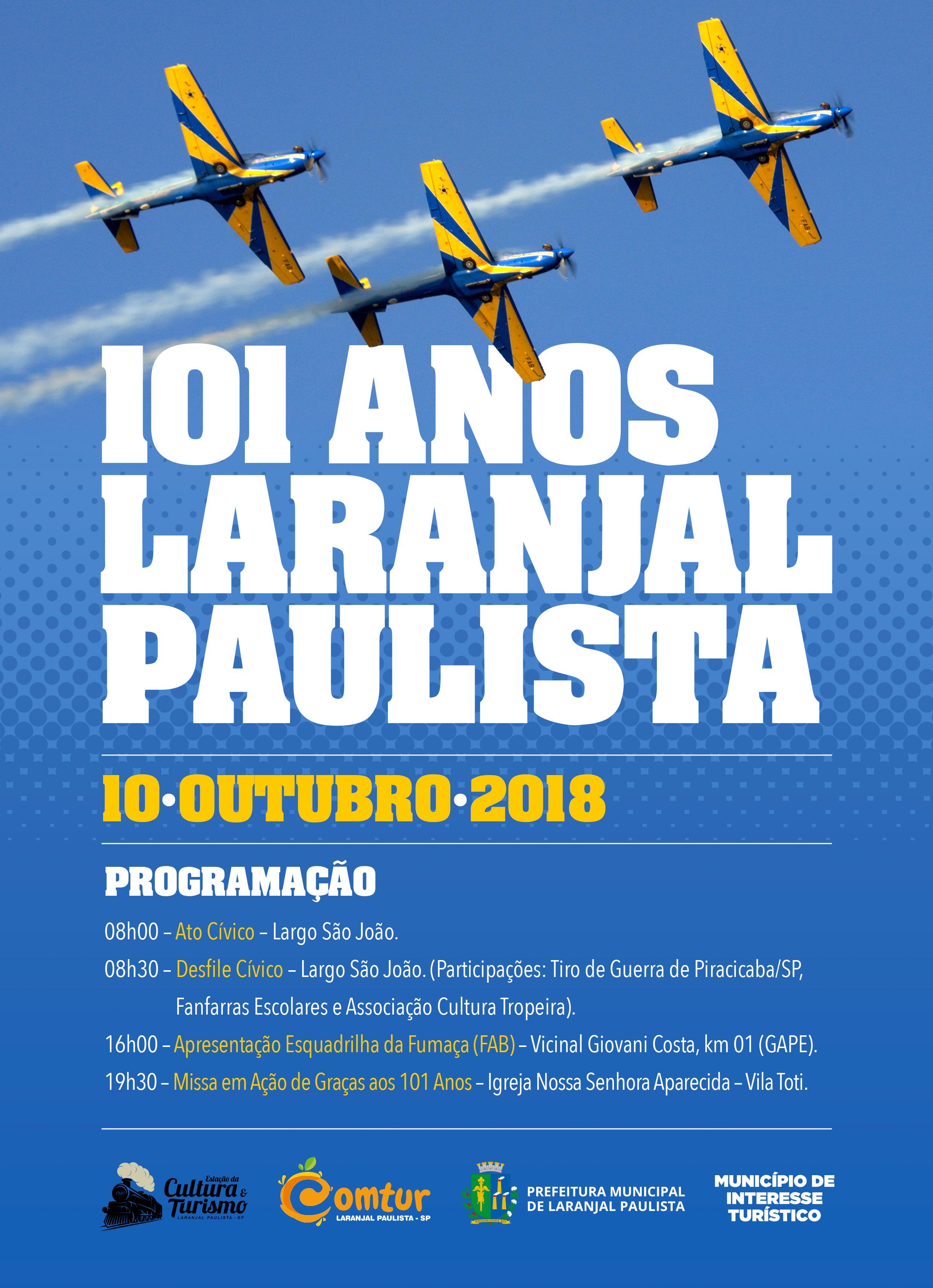 Programação em comemoração ao Aniversário de Laranjal Paulista