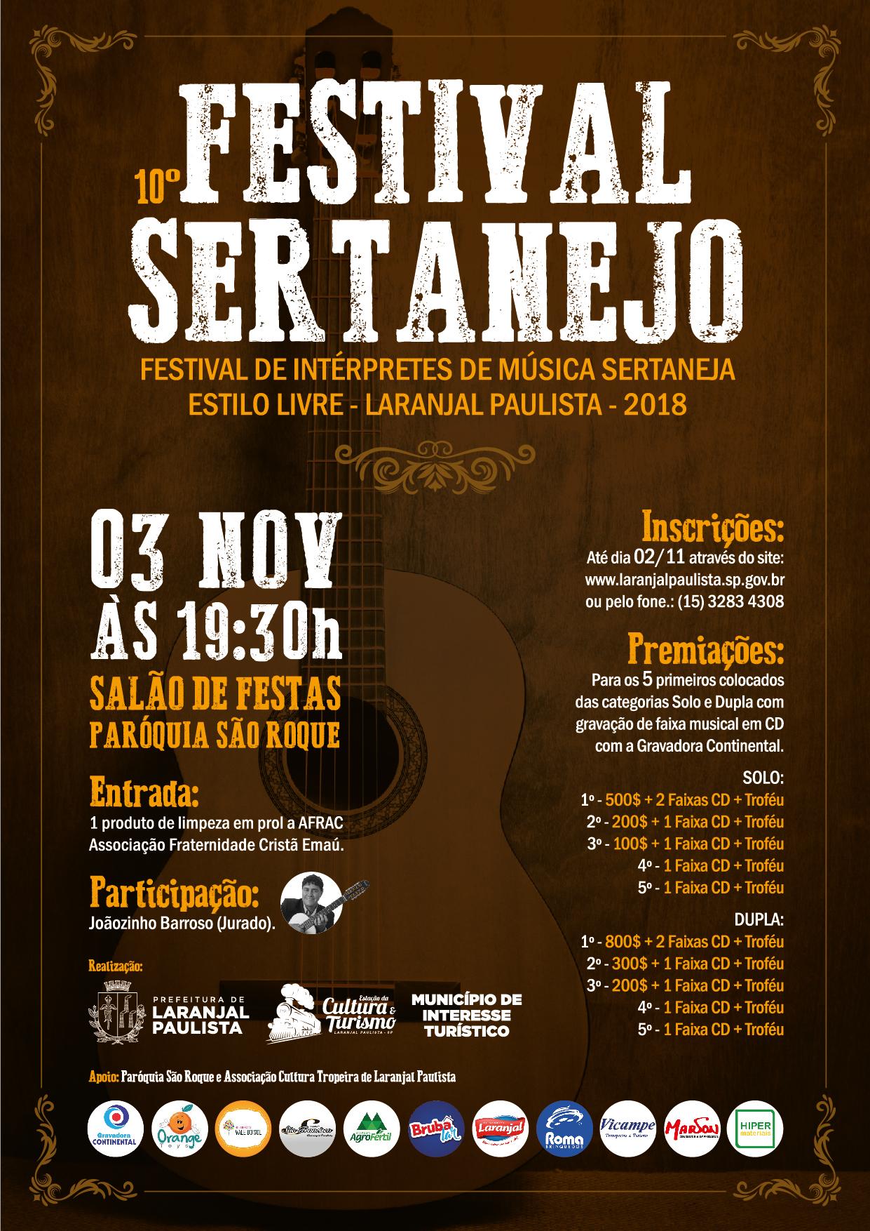 10º Festival Sertanejo - Laranjal Paulista 2018 - INSCREVA-SE AQUI!