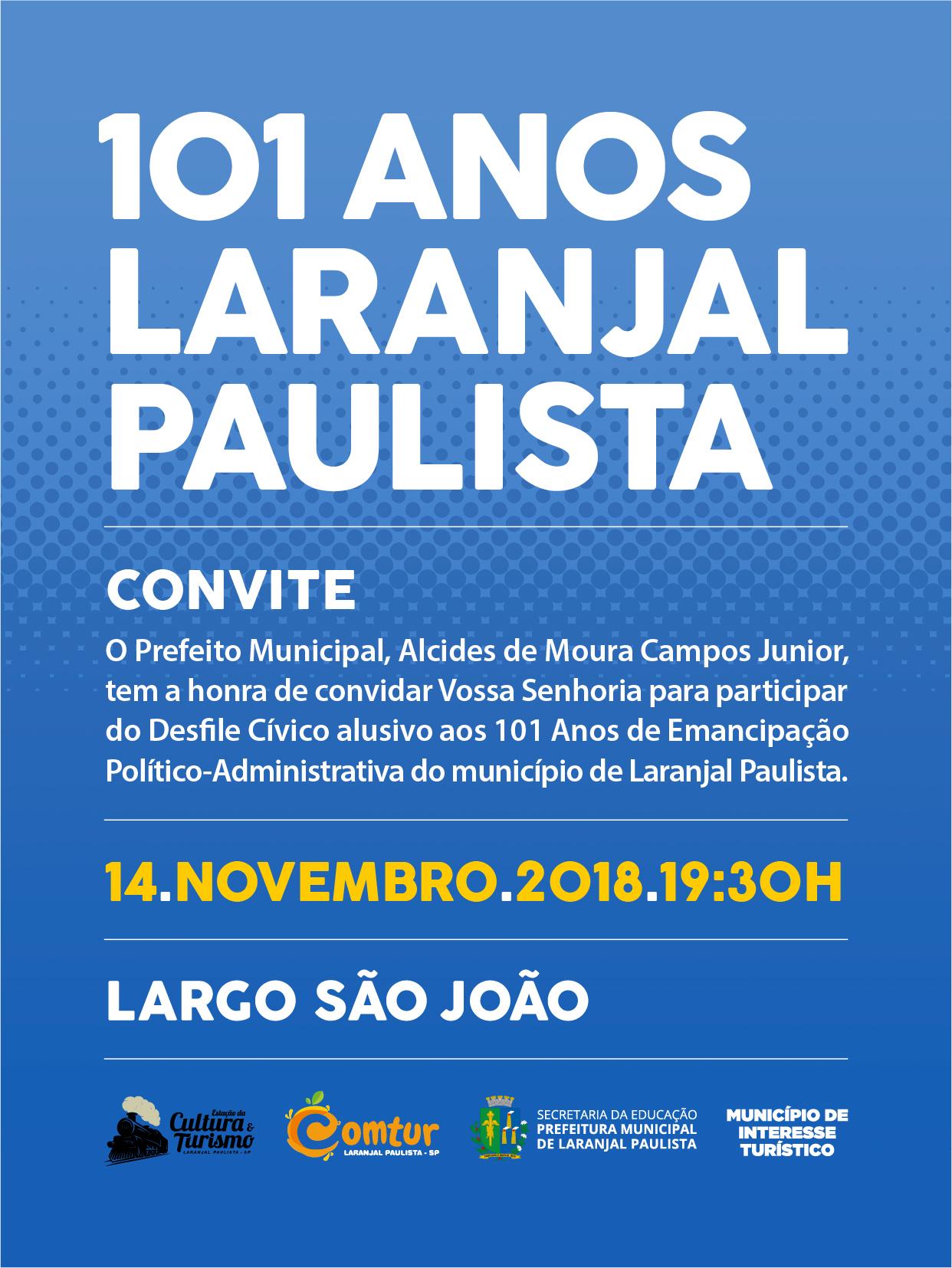 Desfile Cívico alusivo aos 101 anos de Laranjal Paulista