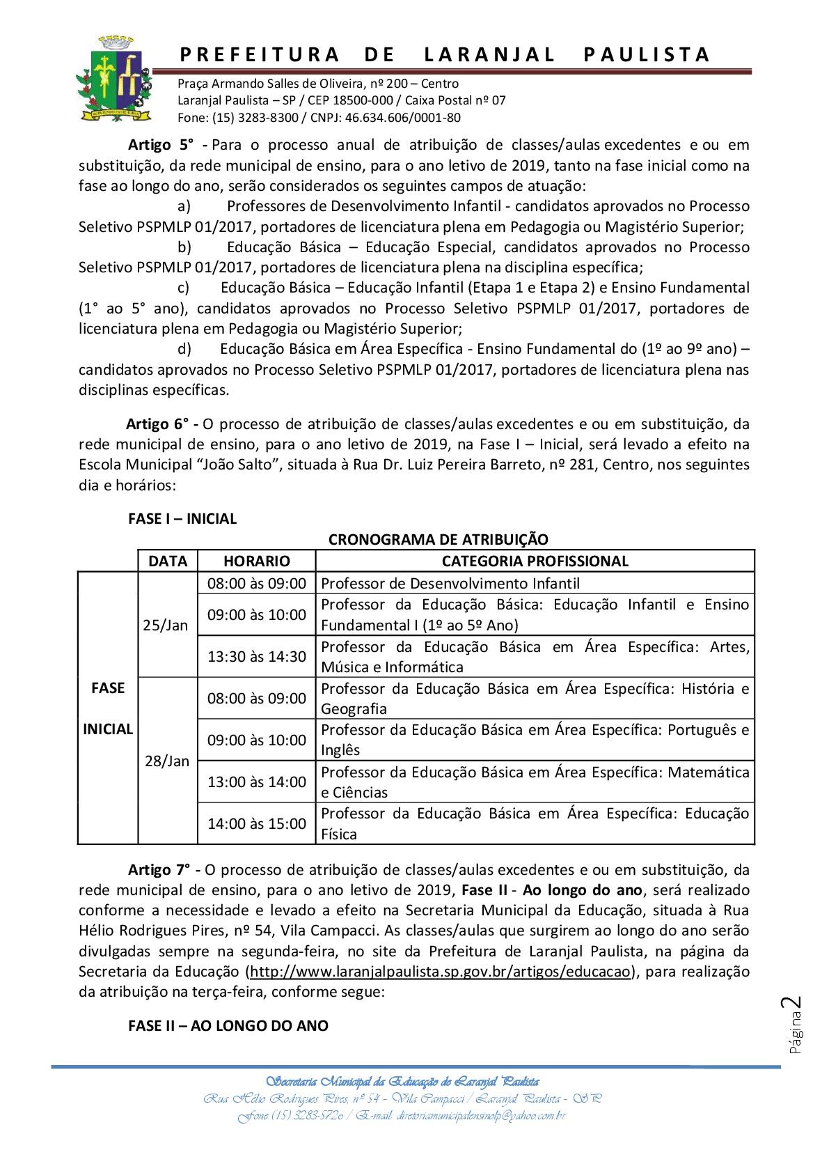 Atribuição de classes e ou aulas excedentes nº 01-2019 - Professores / Processo Seletivo / Instruções Normativas