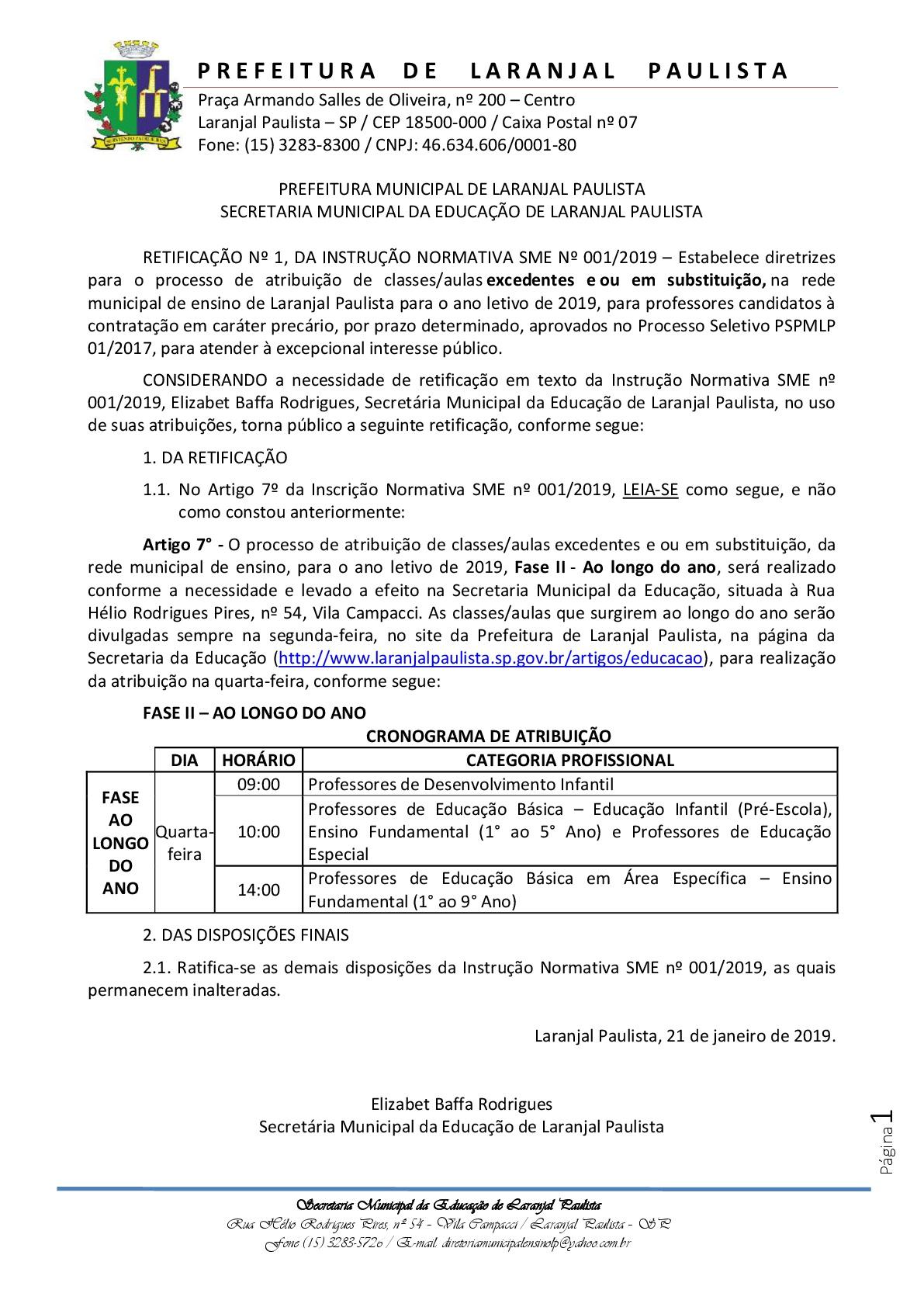 Retificação Instrução normativa nº 01-2019-001