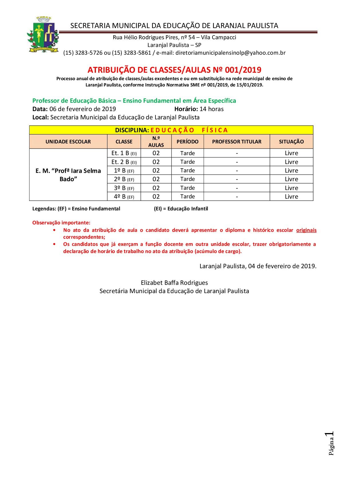 Atribuição de classes e ou aulas nº 001-2019