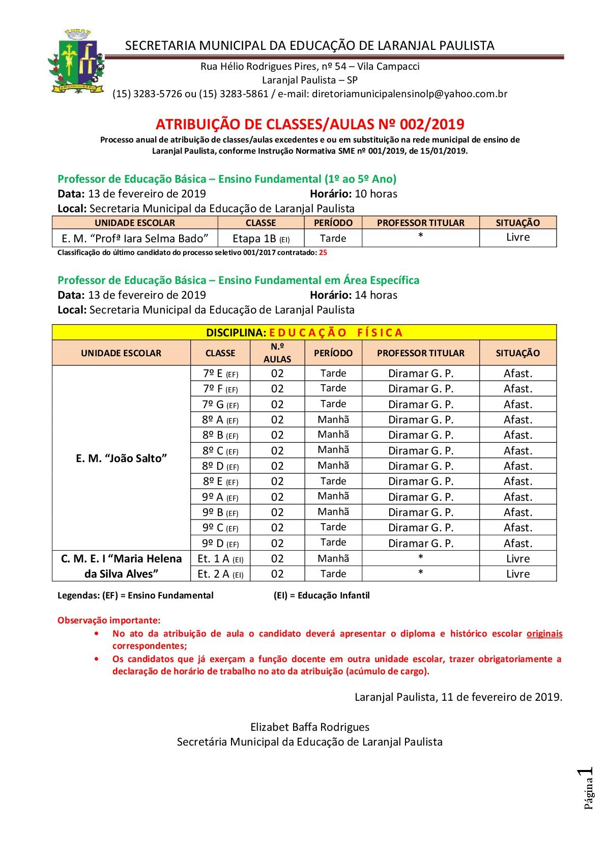 Atribuição de classes e ou aulas excedentes 002-2019