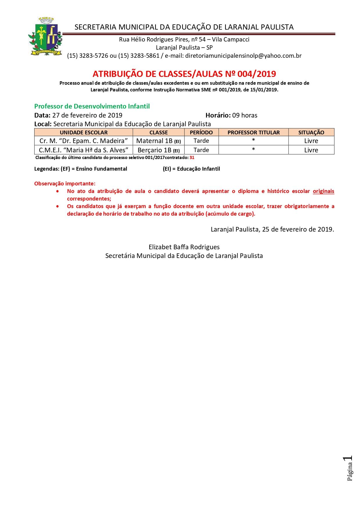 Atribuição de classes e ou aulas excedentes nº 003-2019