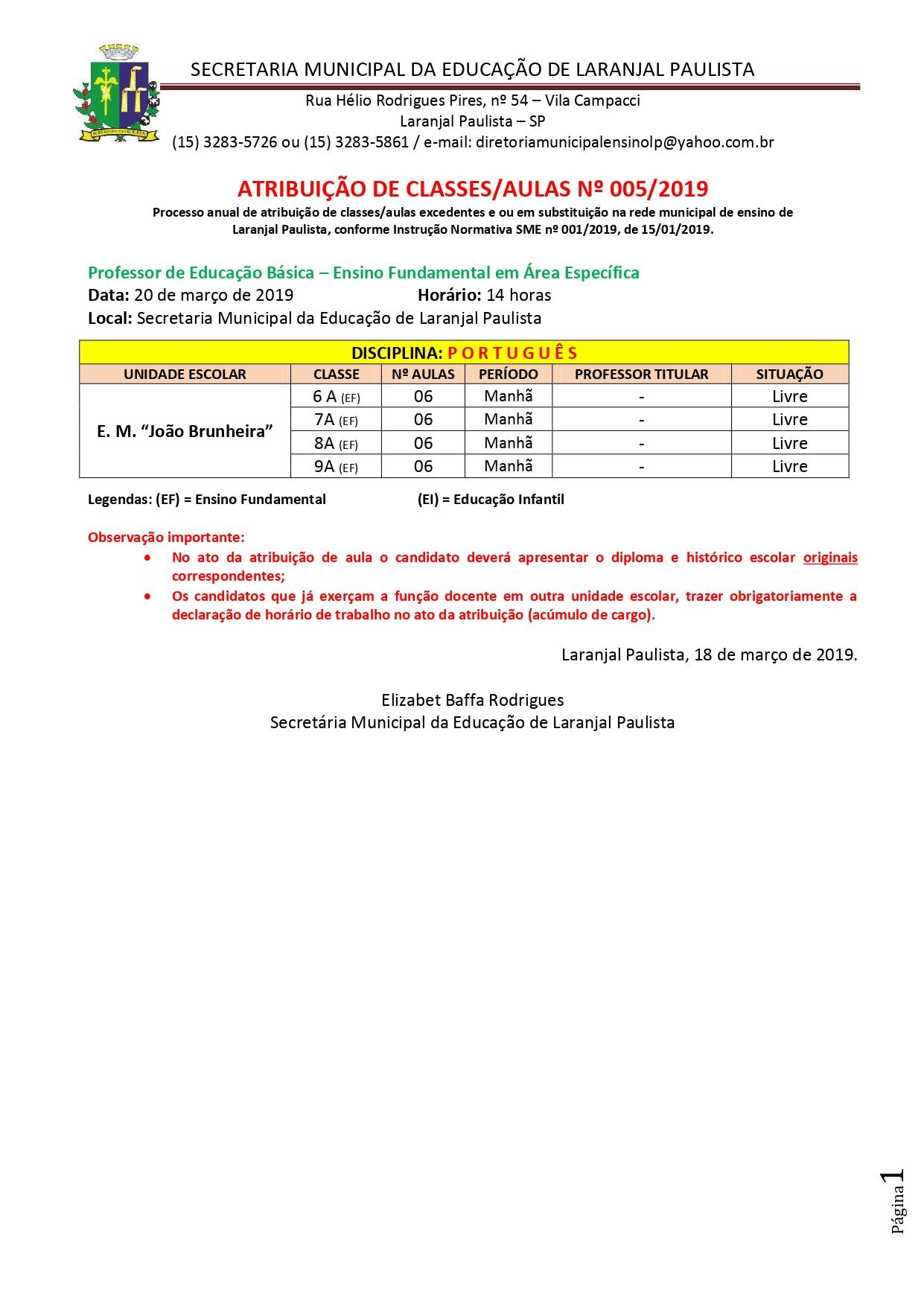 Atribuição de classes e ou aulas excedentes nº 005-2019