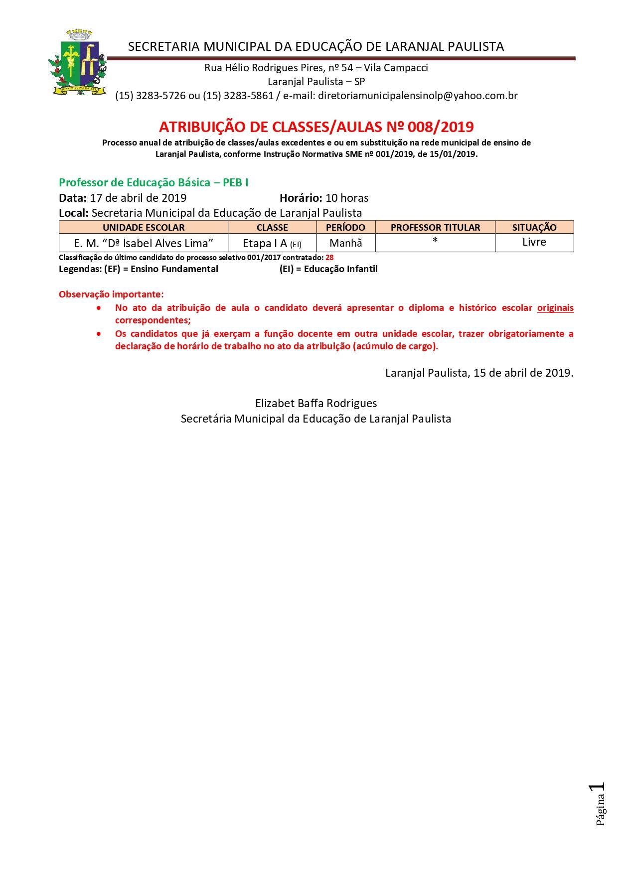 Atribuição de classes e ou aulas excedentes nº 008-2019