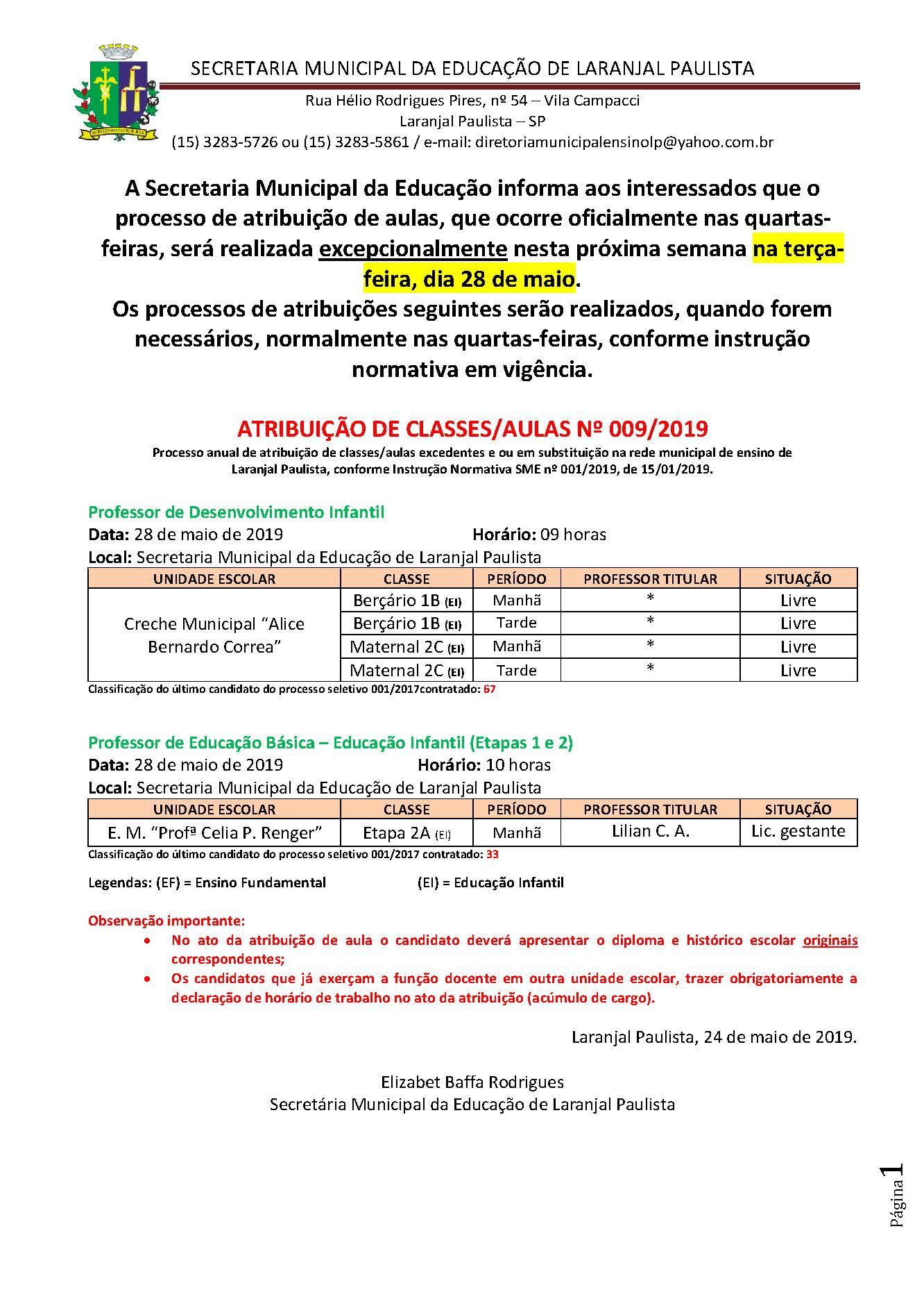 Atribuição de classes e ou aulas excedentes nº 009-2019