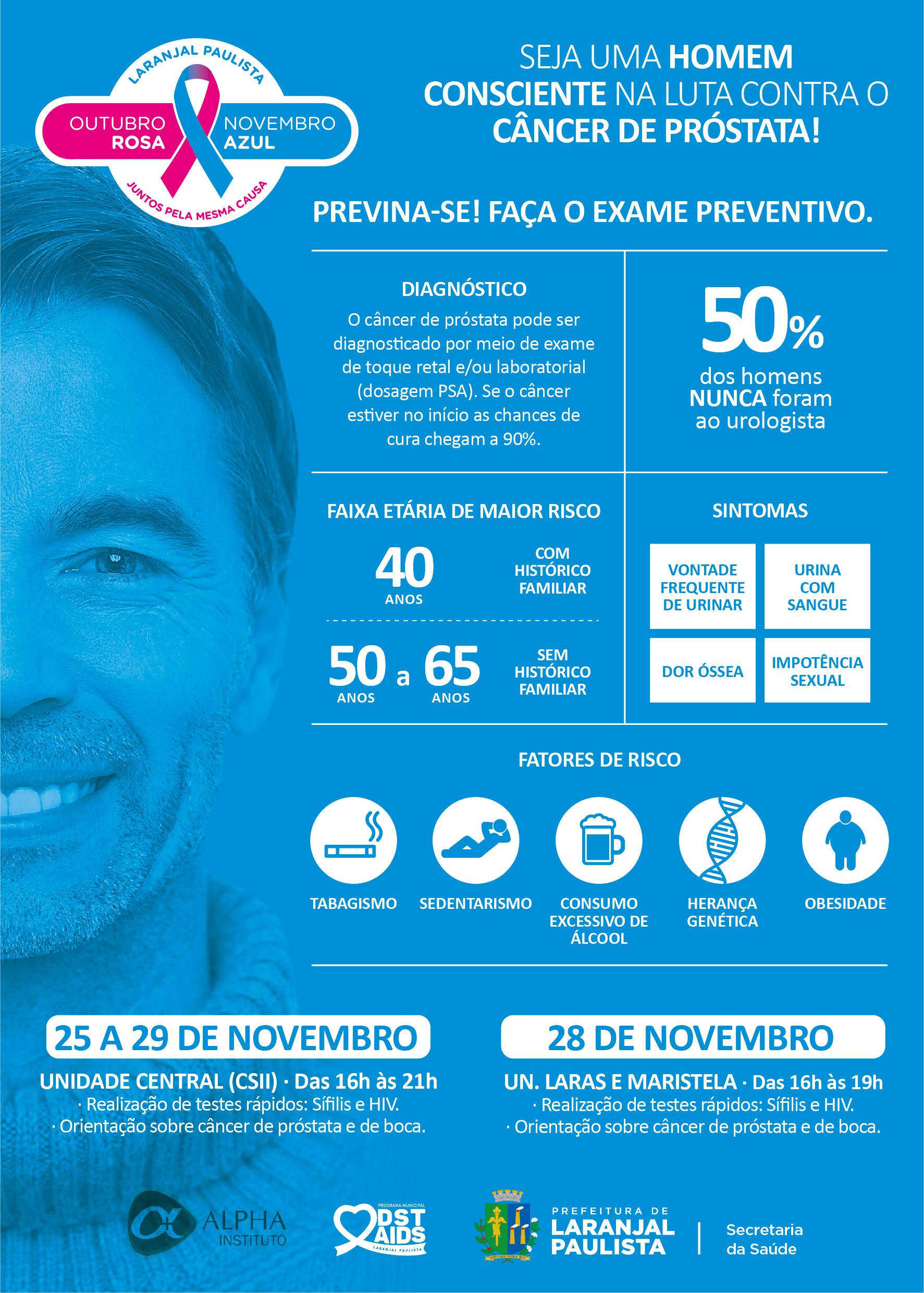 Campanha Novembro Azul em prevenção ao câncer de próstata. De 14 a 18, confira a programação.