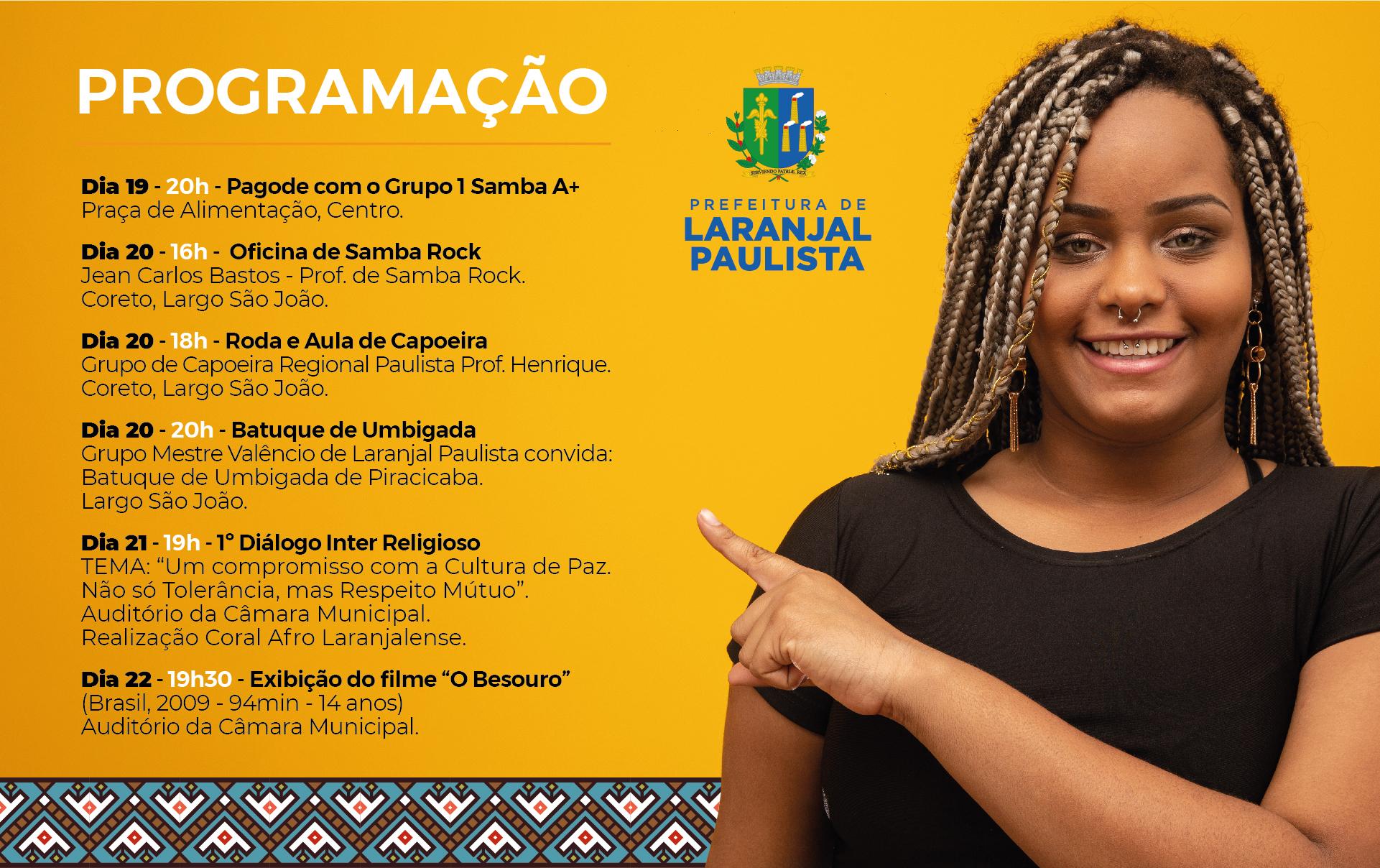 Laranjal Paulista terá feriado e comemoração ao Dia da Consciência Negra