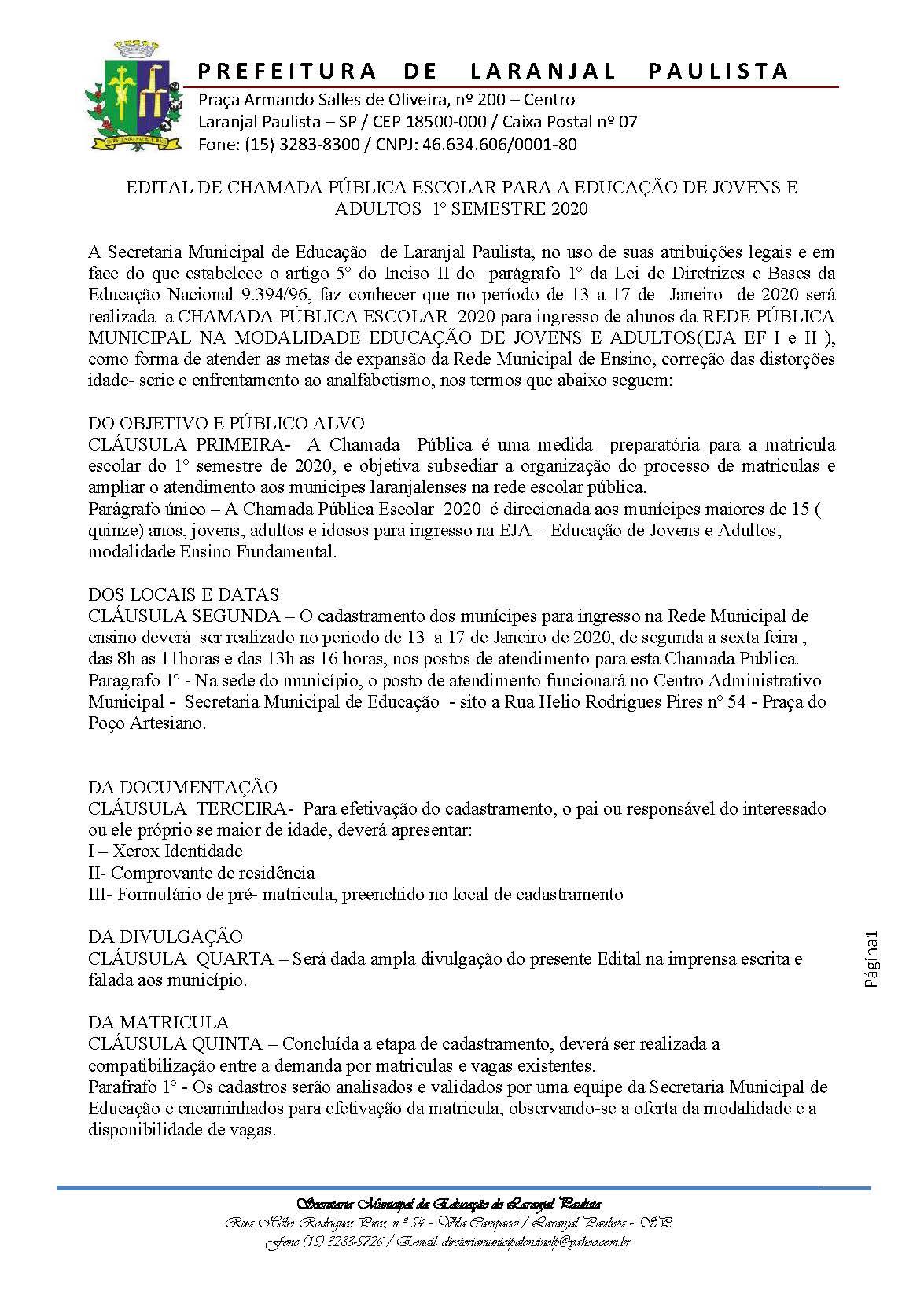 Edital de Chamada Pública Escolar EJA 2020