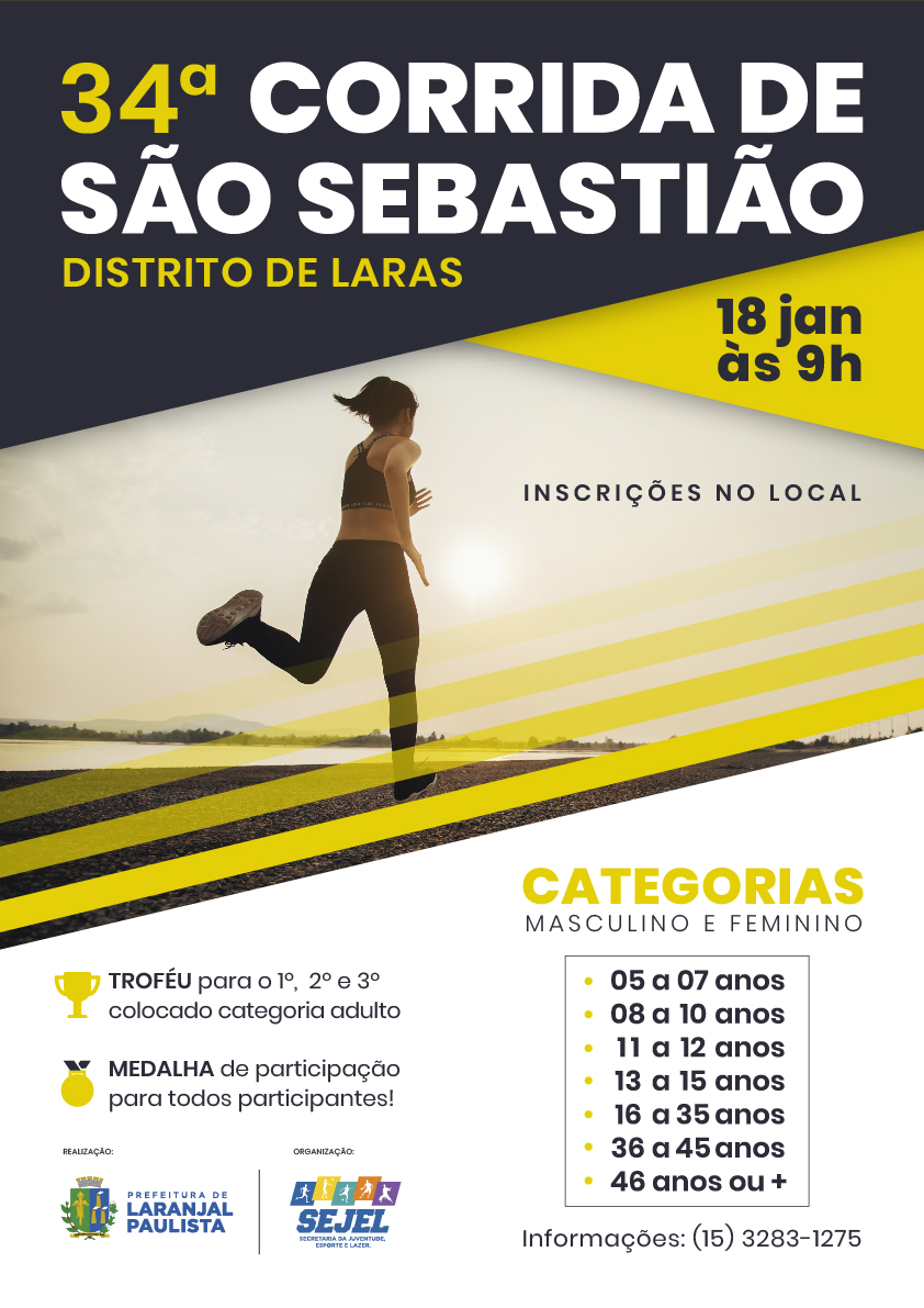 Neste domingo, à partir das 9h, acontece a 34ª Corrida de São Sebastião no Distrito de Laras. Participe!