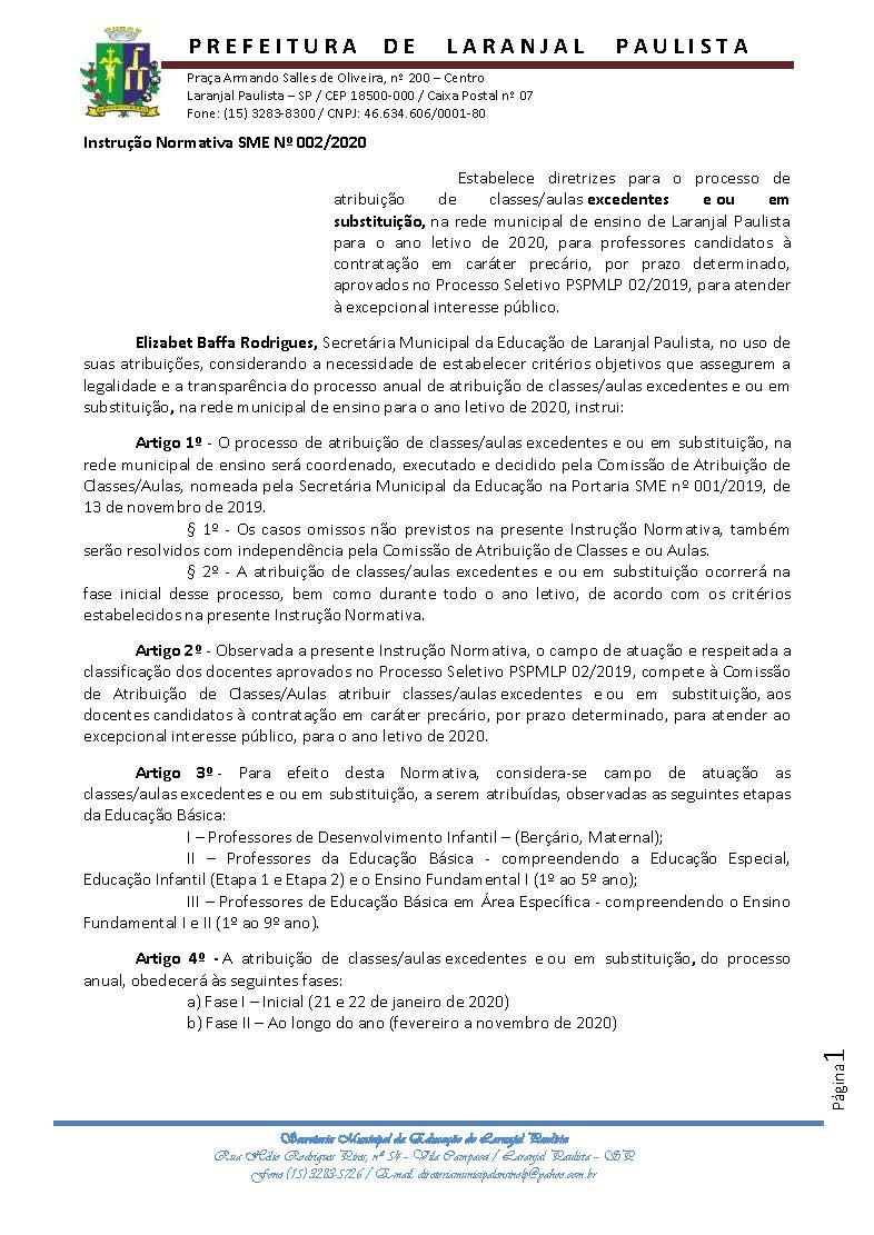 Instrução Normativa 002-2020 - Excedentes - Processo Seletivo