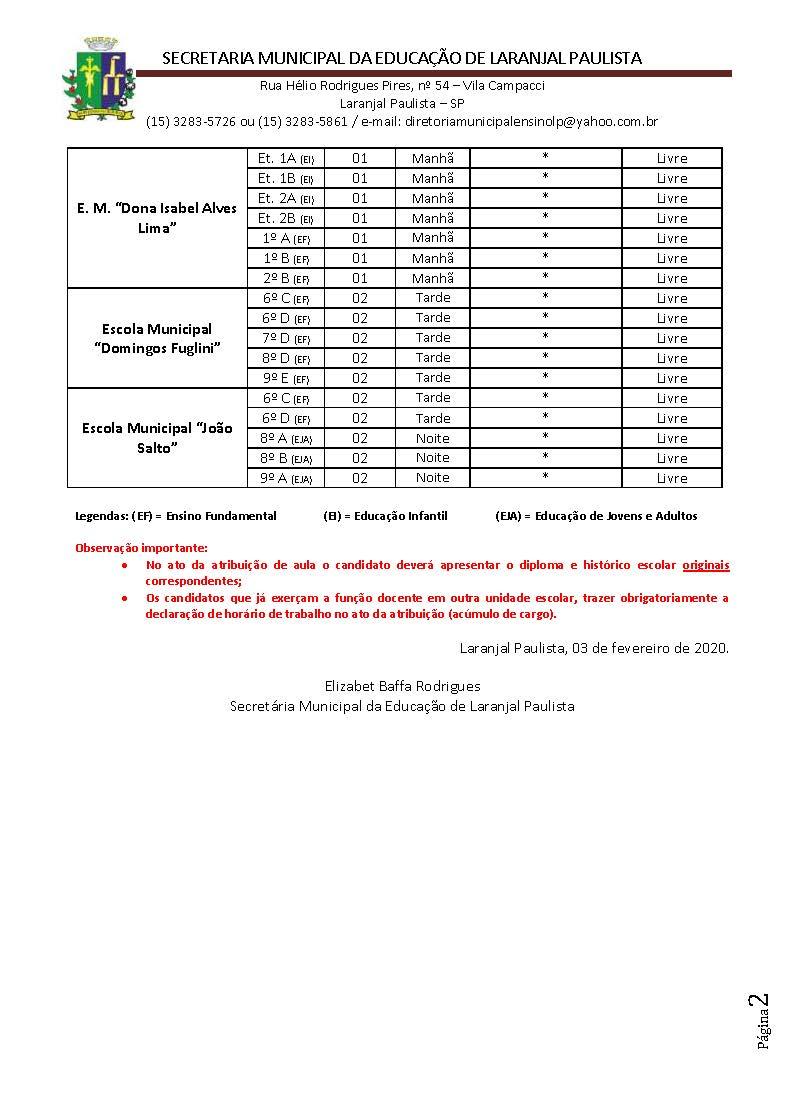 Atribuição de classes e ou aulas excedentes nº 001-2020