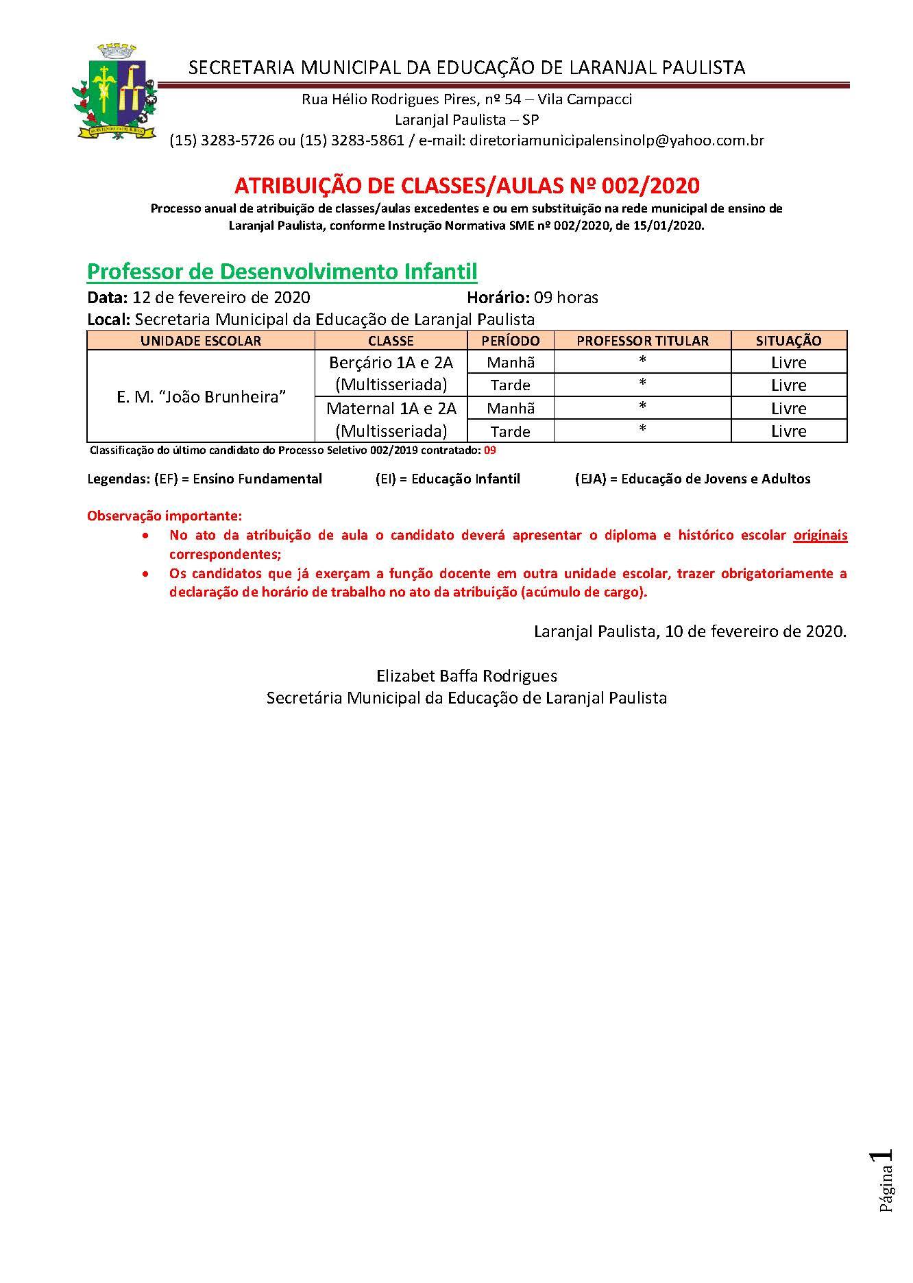 Atribuição de classes e ou aulas excedentes nº 002-2020
