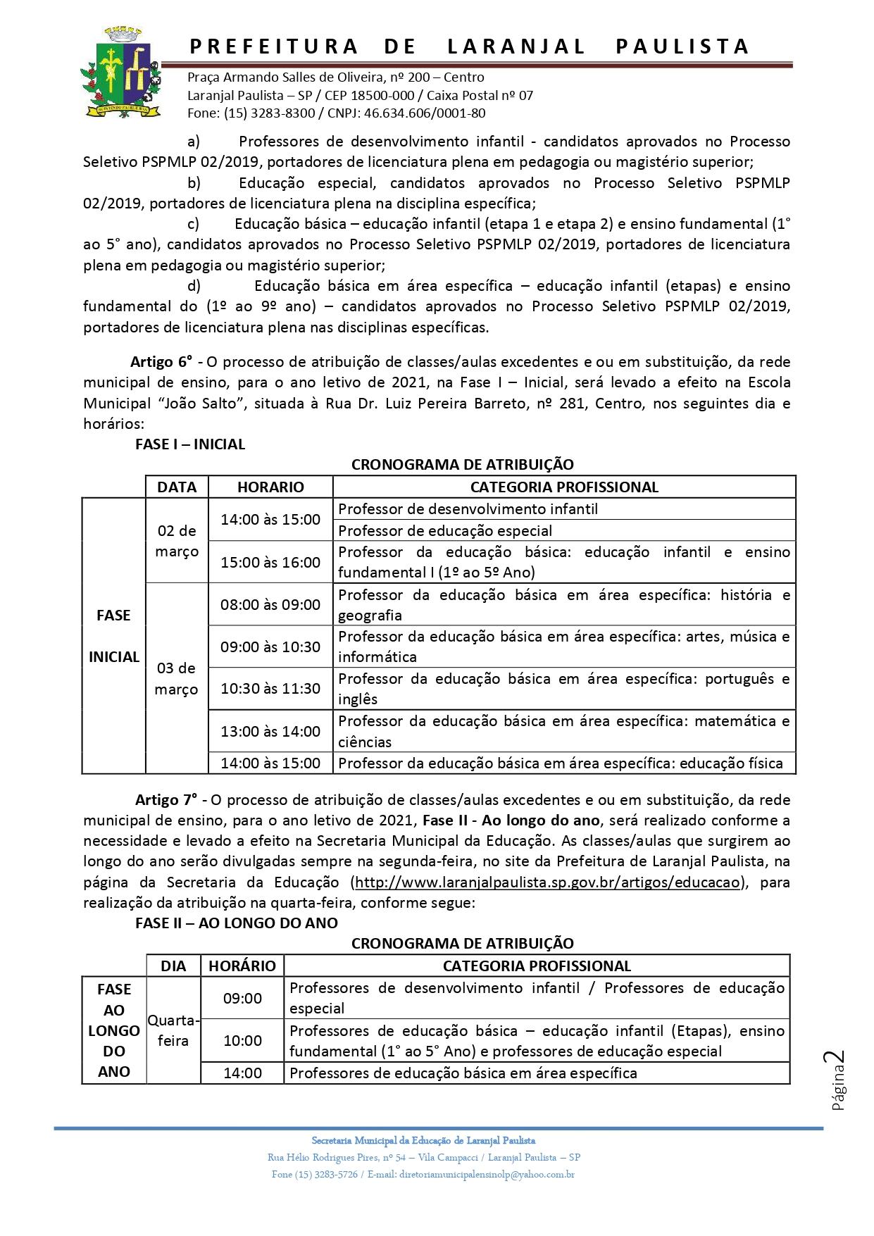 Atribuição de classes e ou aulas excedentes nº 002-2021