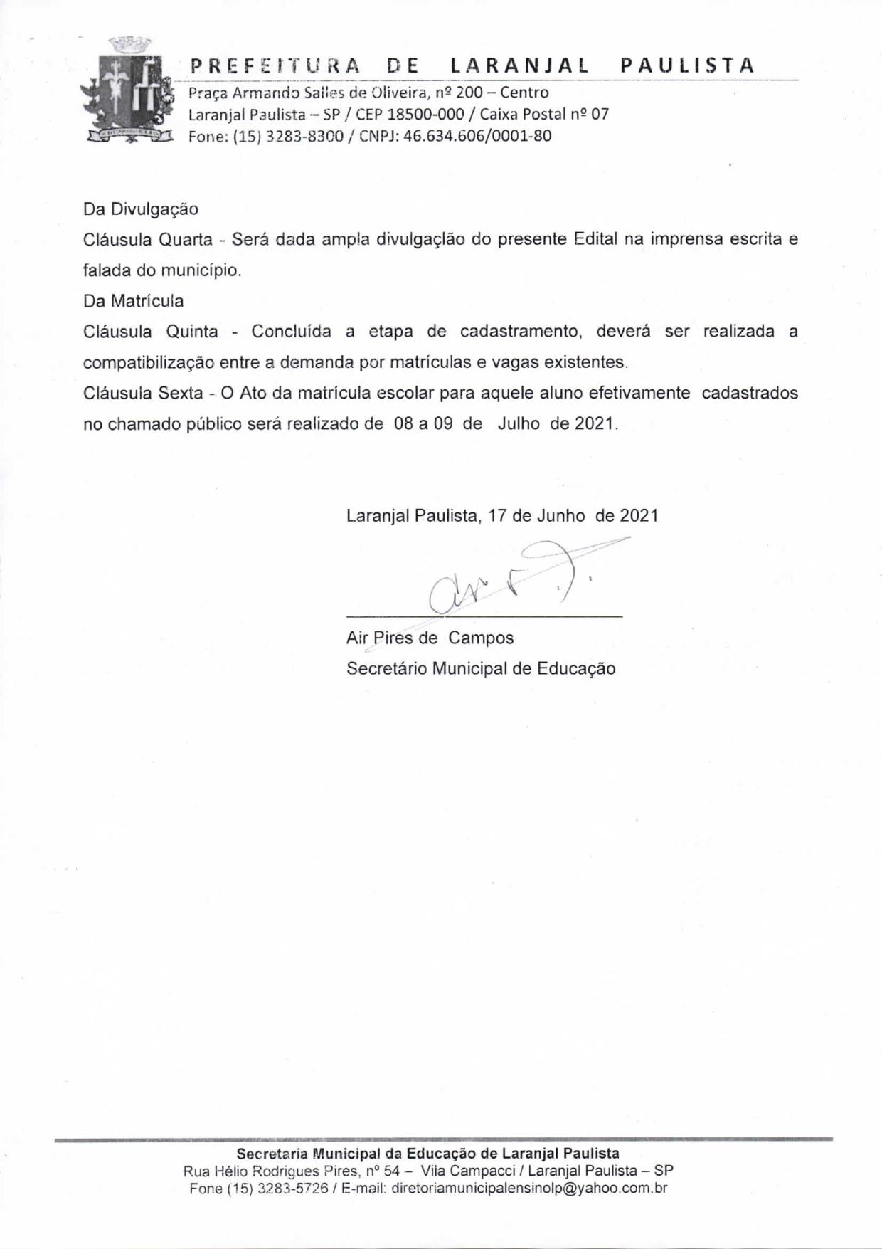 Edital de Chamada Pública EJA